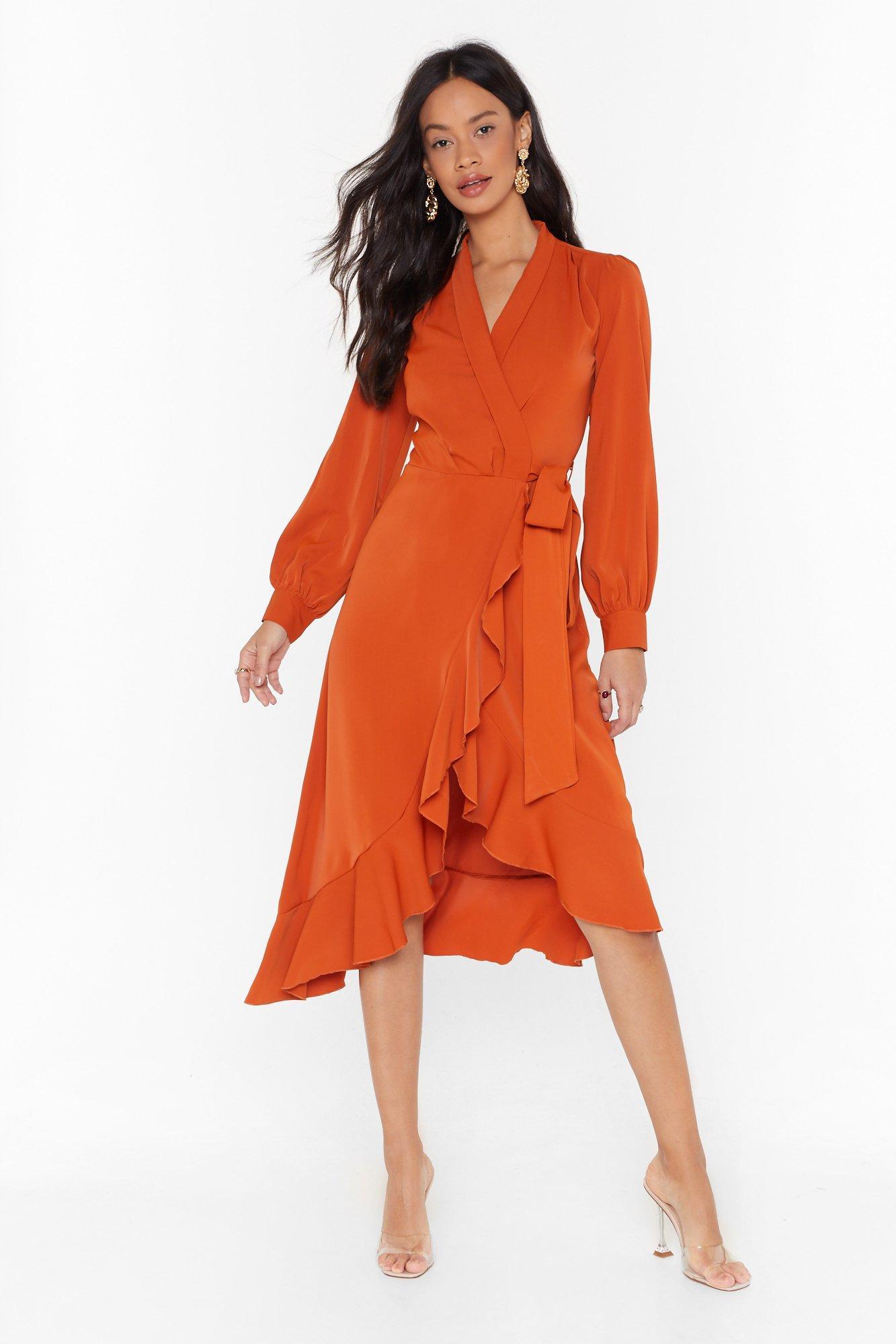 Image of Dressed to Frill Wrap Midi Dress