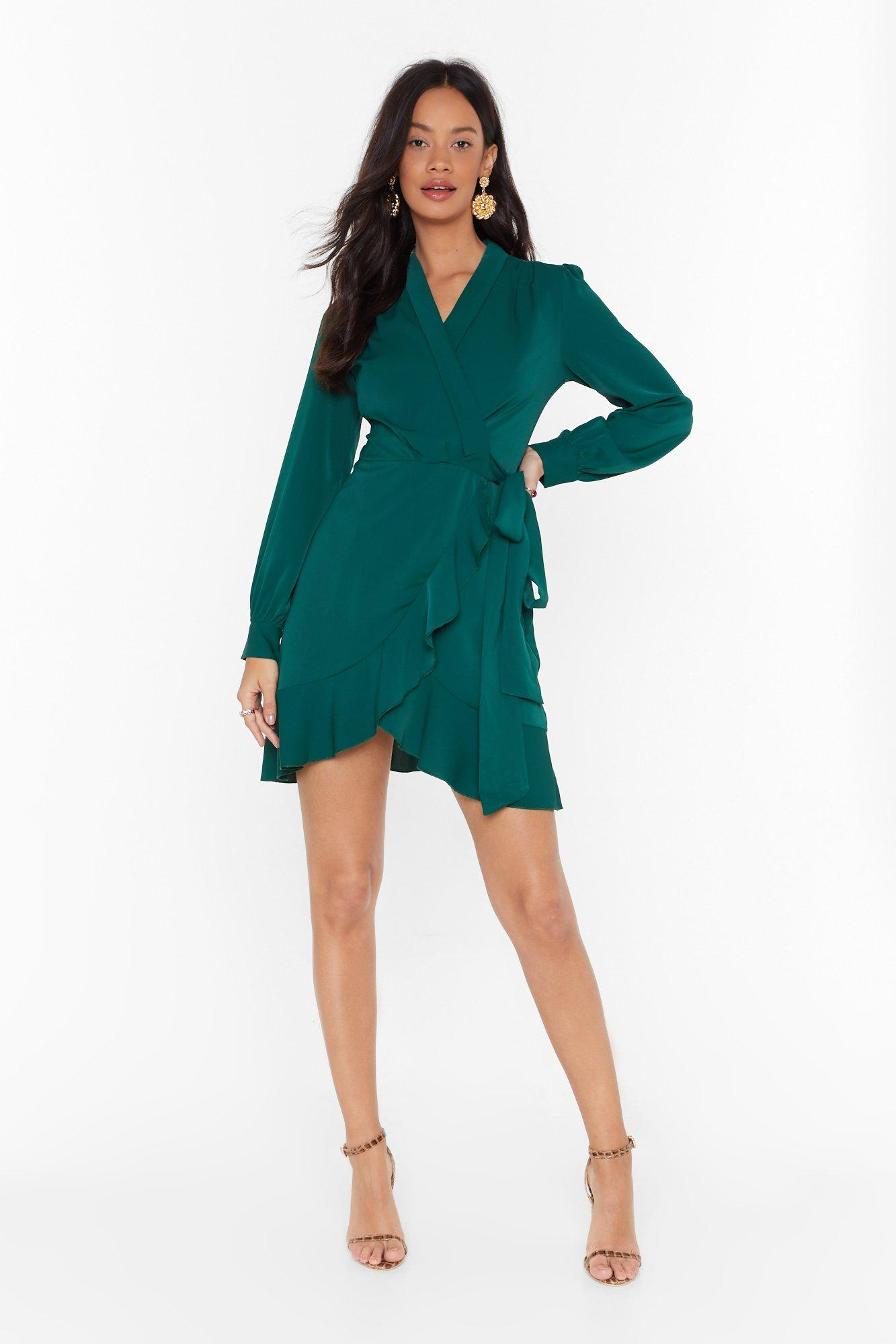 Image of Just Wrap It Up Ruffle Mini Dress