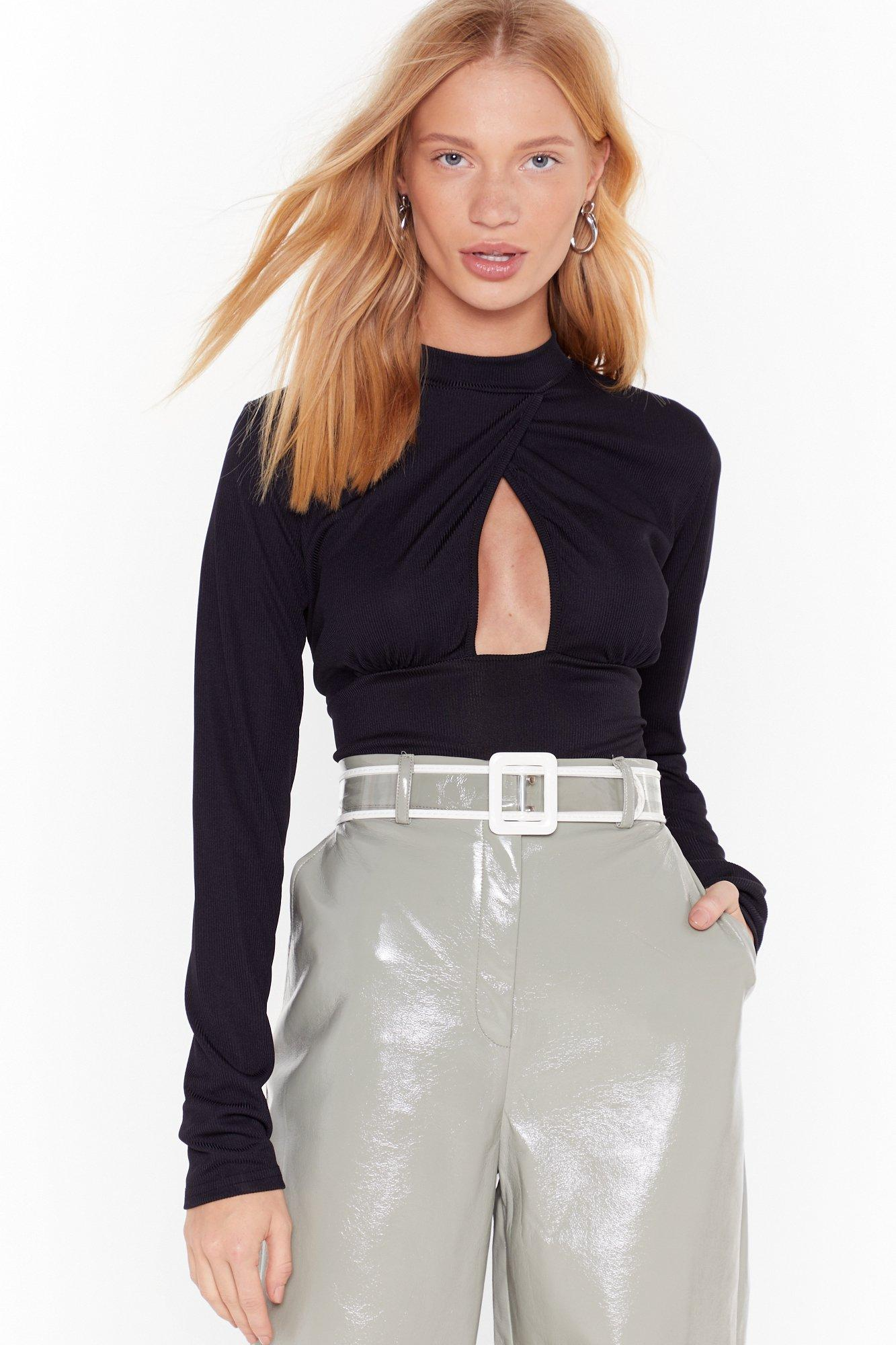 Image of Come Find Cut-Out High-Neck Ribbed Bodysuit