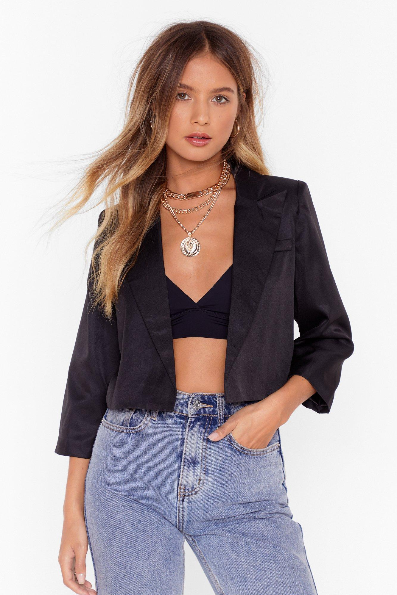 Image of This Means Business Cropped Tailored Blazer