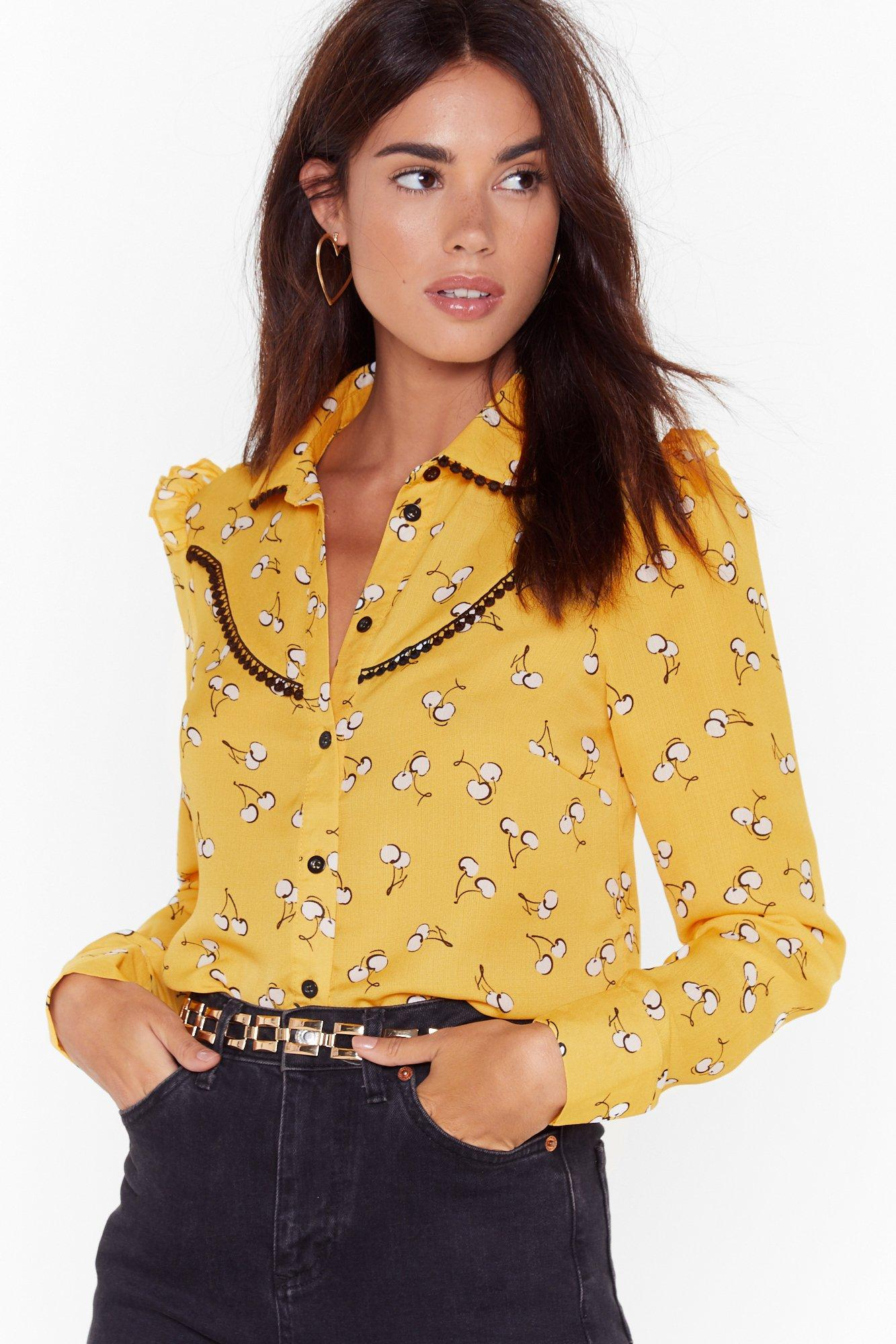 Image of Cherry Oh Baby Print Puff Sleeve Blouse