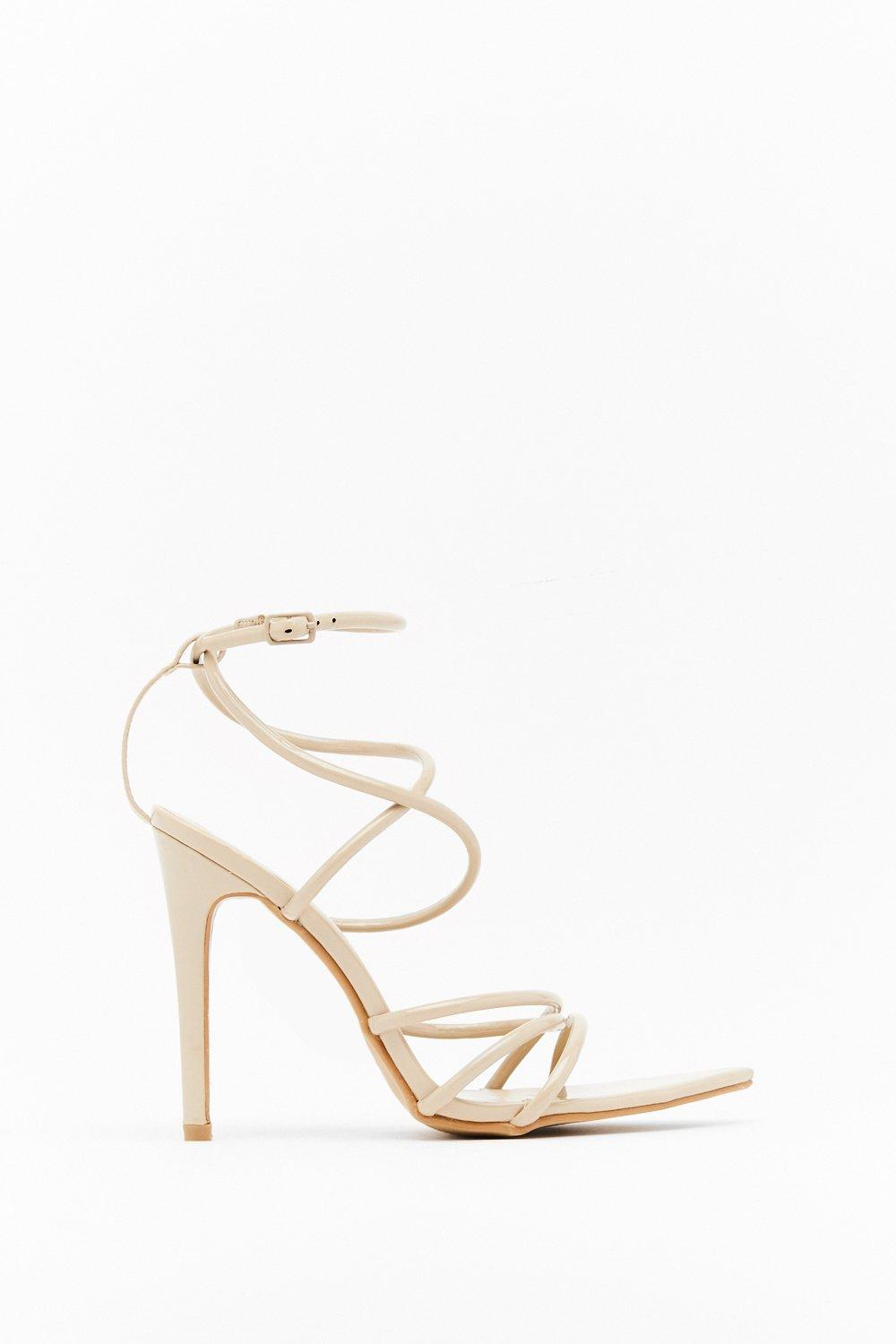 Image of Strappy Together Faux Leather Heels