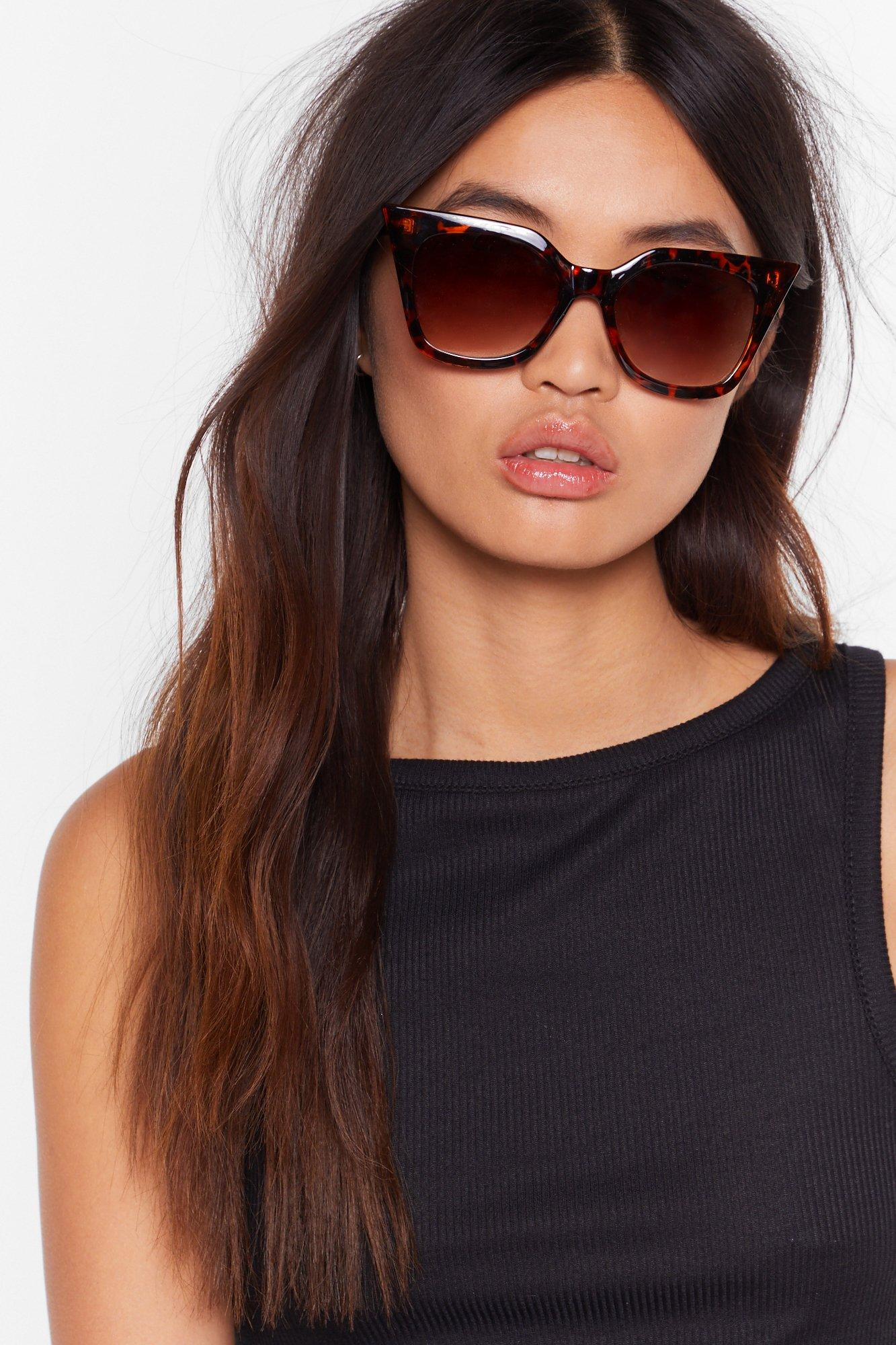 Image of Tort About It Pointed Cat-Eye Sunglasses
