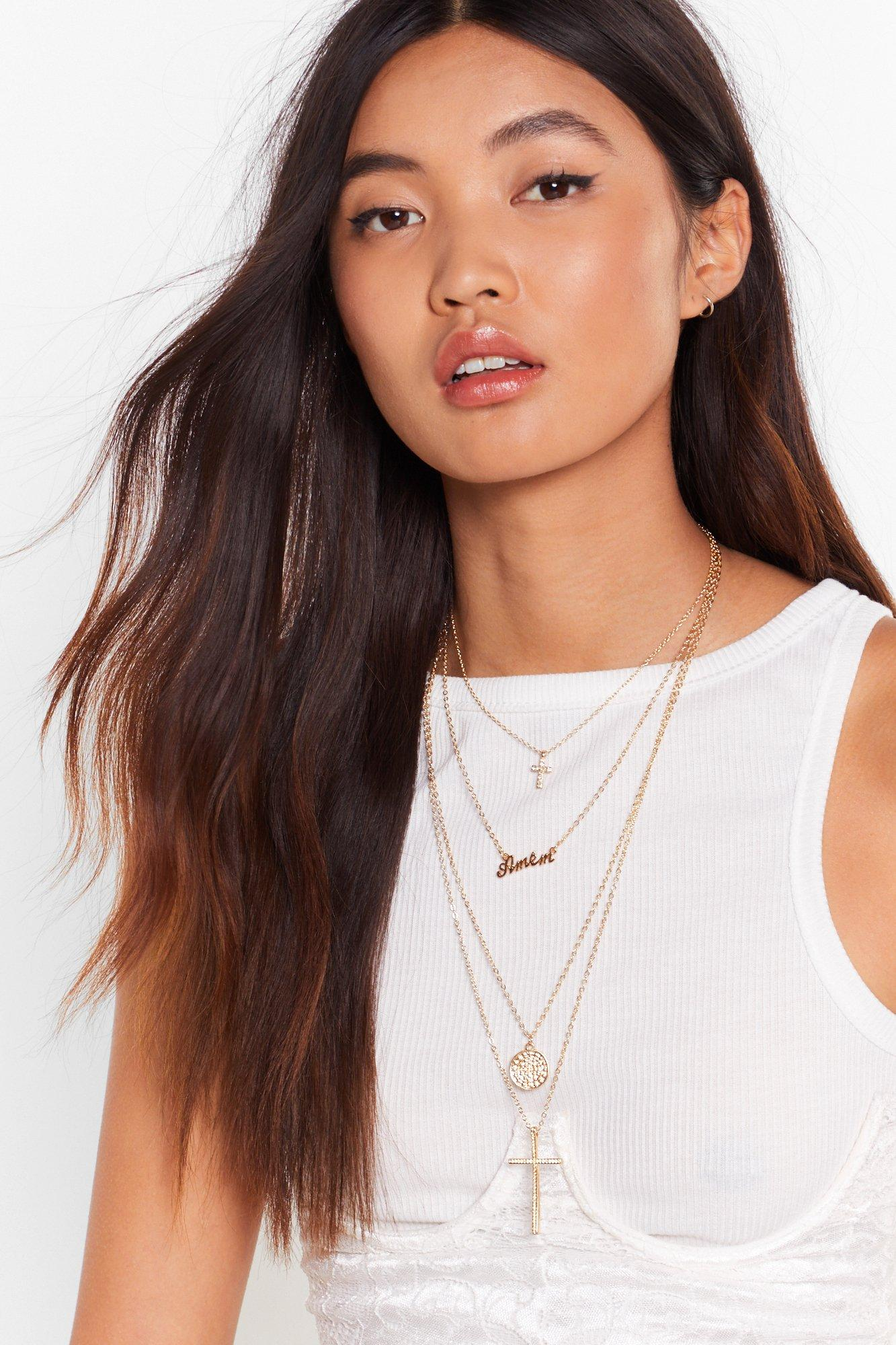 Image of Don't Double Cross Me Layered Necklace