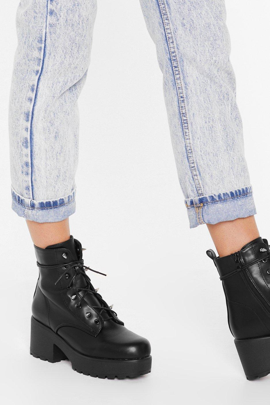 Image of Spike Back Faux Leather Lace-Up Boots