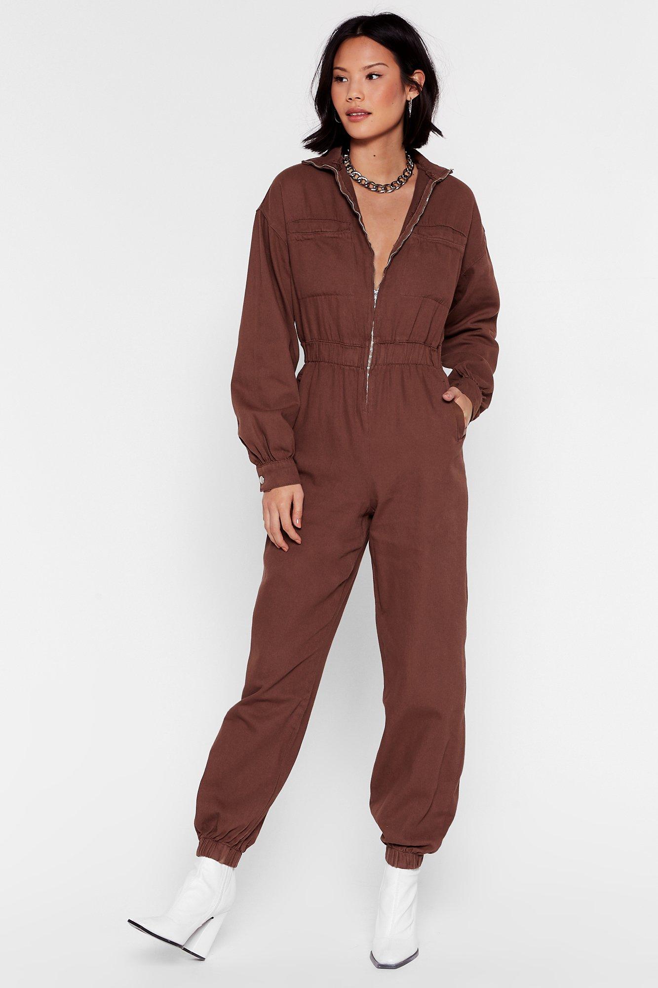 Image of Slip of the Zip Relaxed Denim Boilersuit