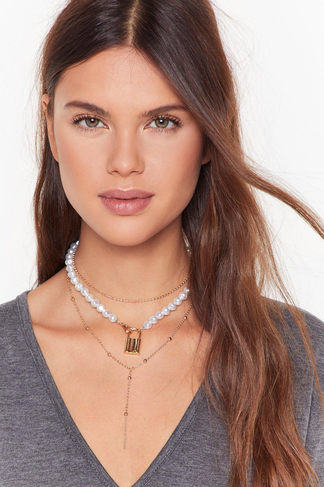 Image of Heart On Padlock Pearl-Inspired Necklace