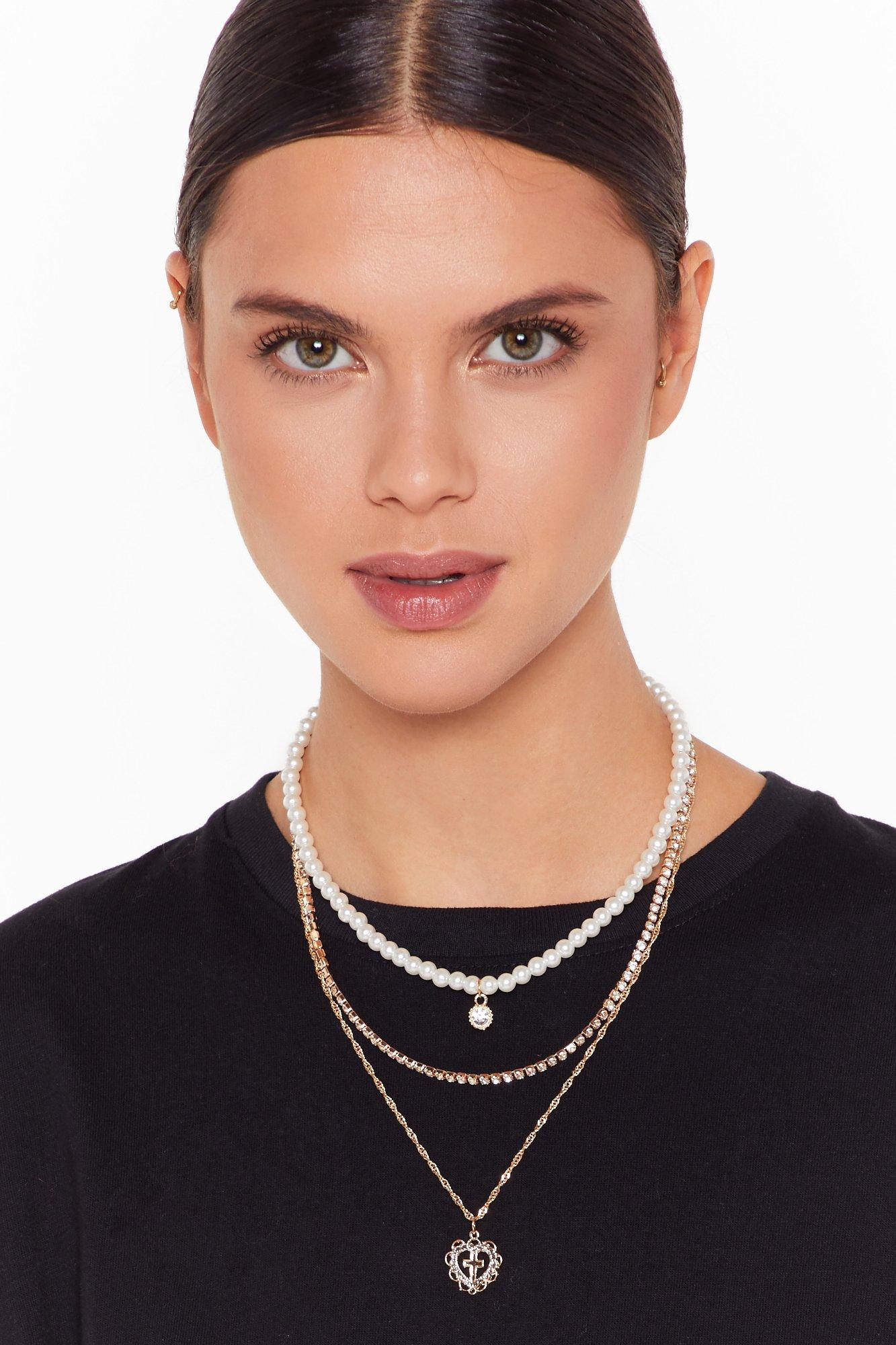 Image of Heart of Gold Layered Pearl Necklace