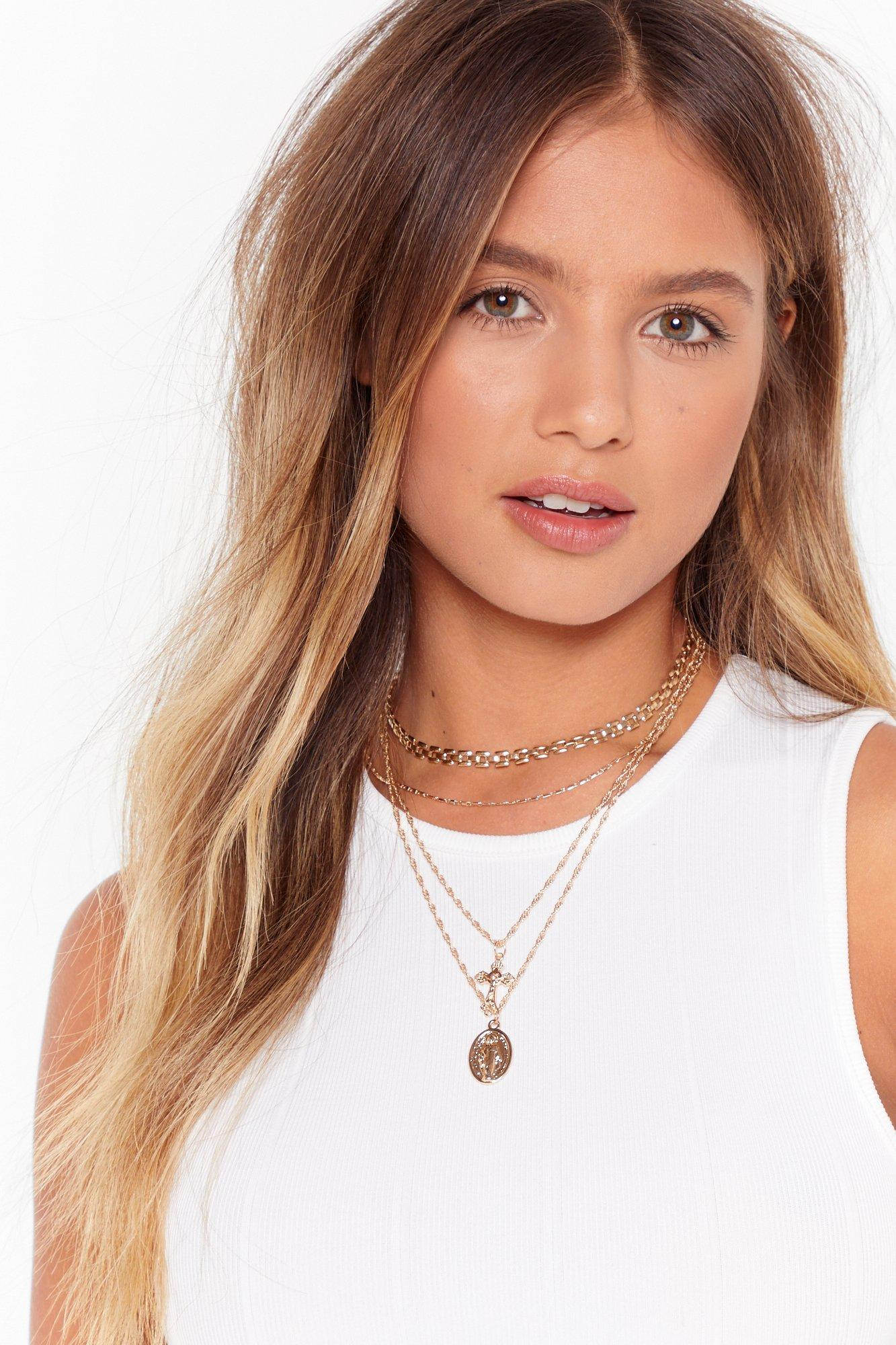 Image of Crossed Off Layered Chain Necklace