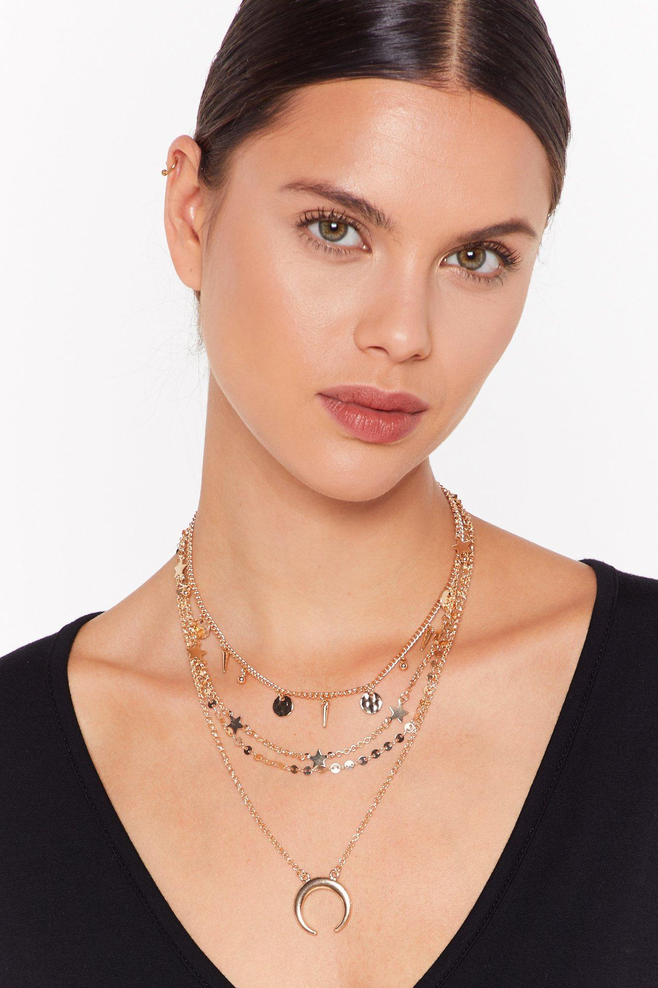 Image of Over the Half Moon Layered Chain Necklace
