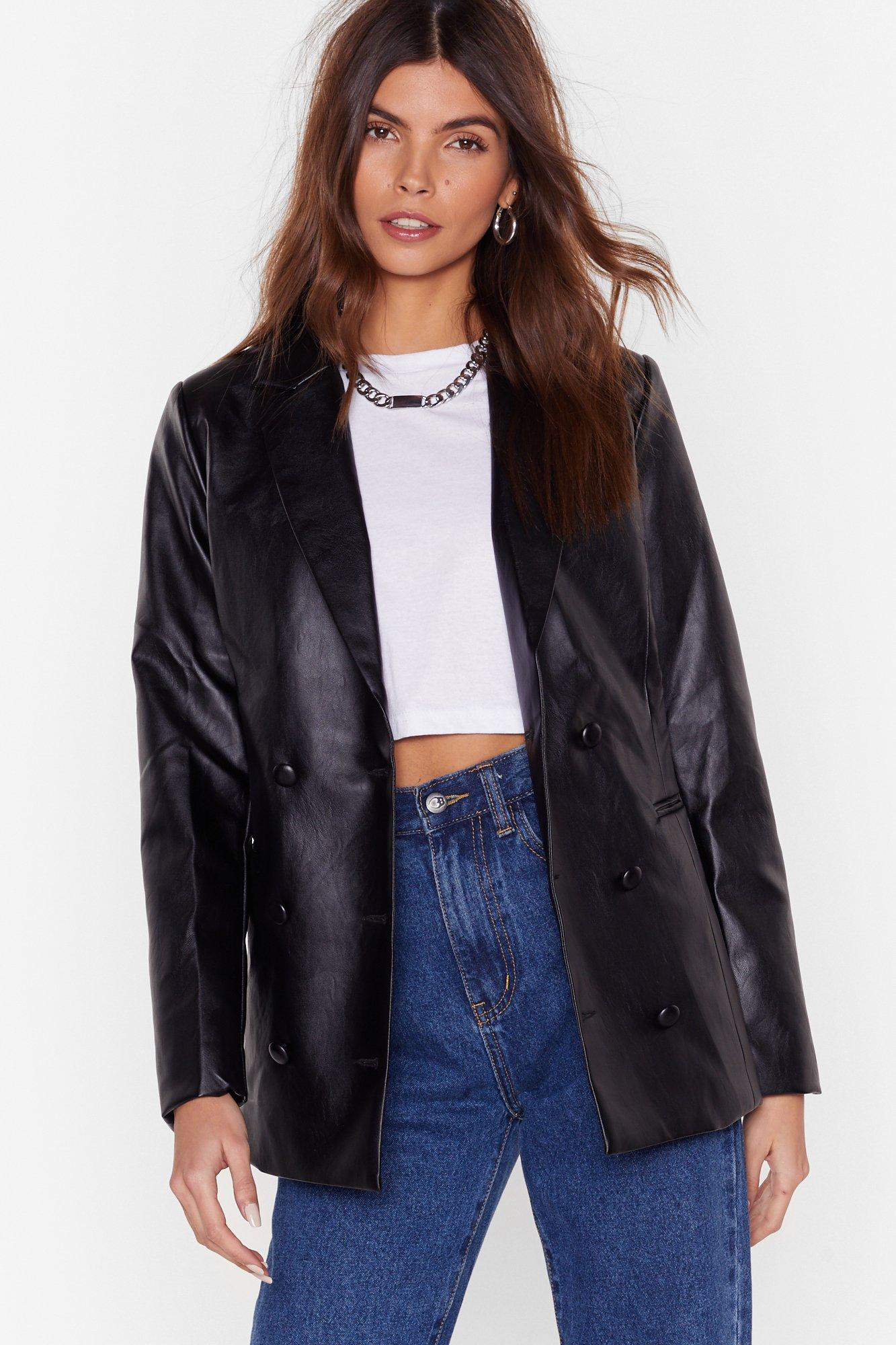 Image of I Will Faux Leather Let You Down Blazer