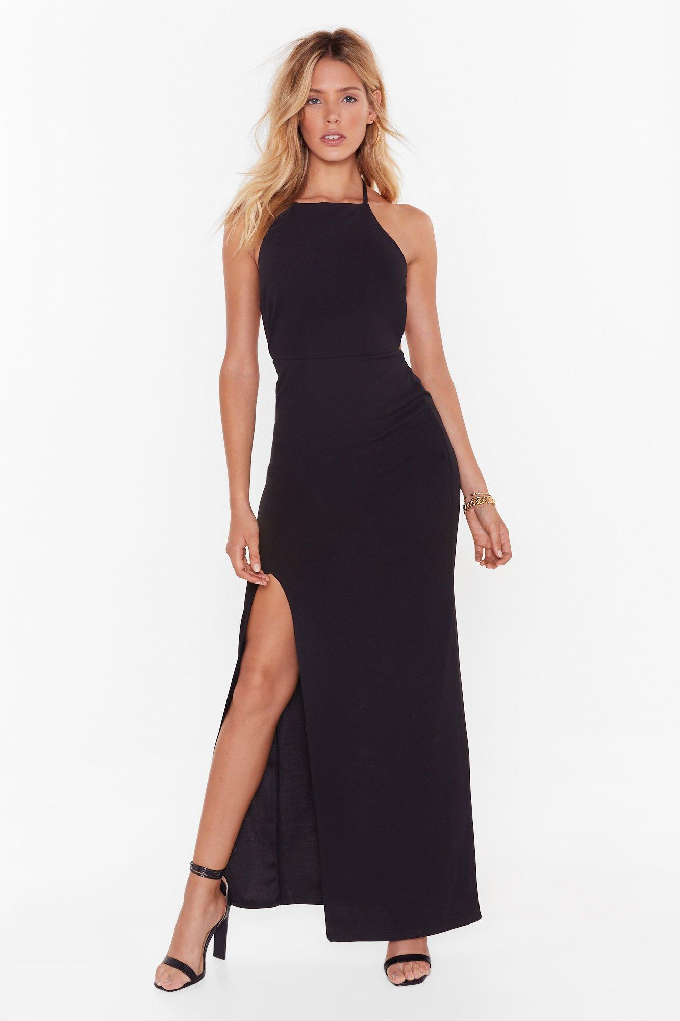 Image of You Tied to Play Me Halter Maxi Dress