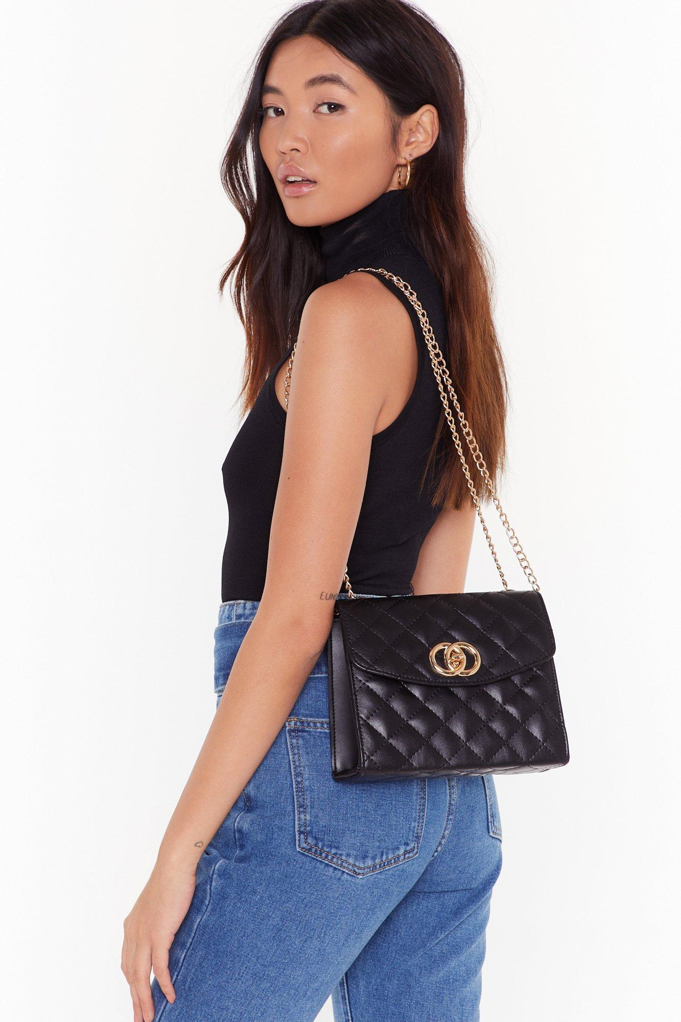 Image of WANT Quilt Playin' Games Faux Leather Crossbody Bag