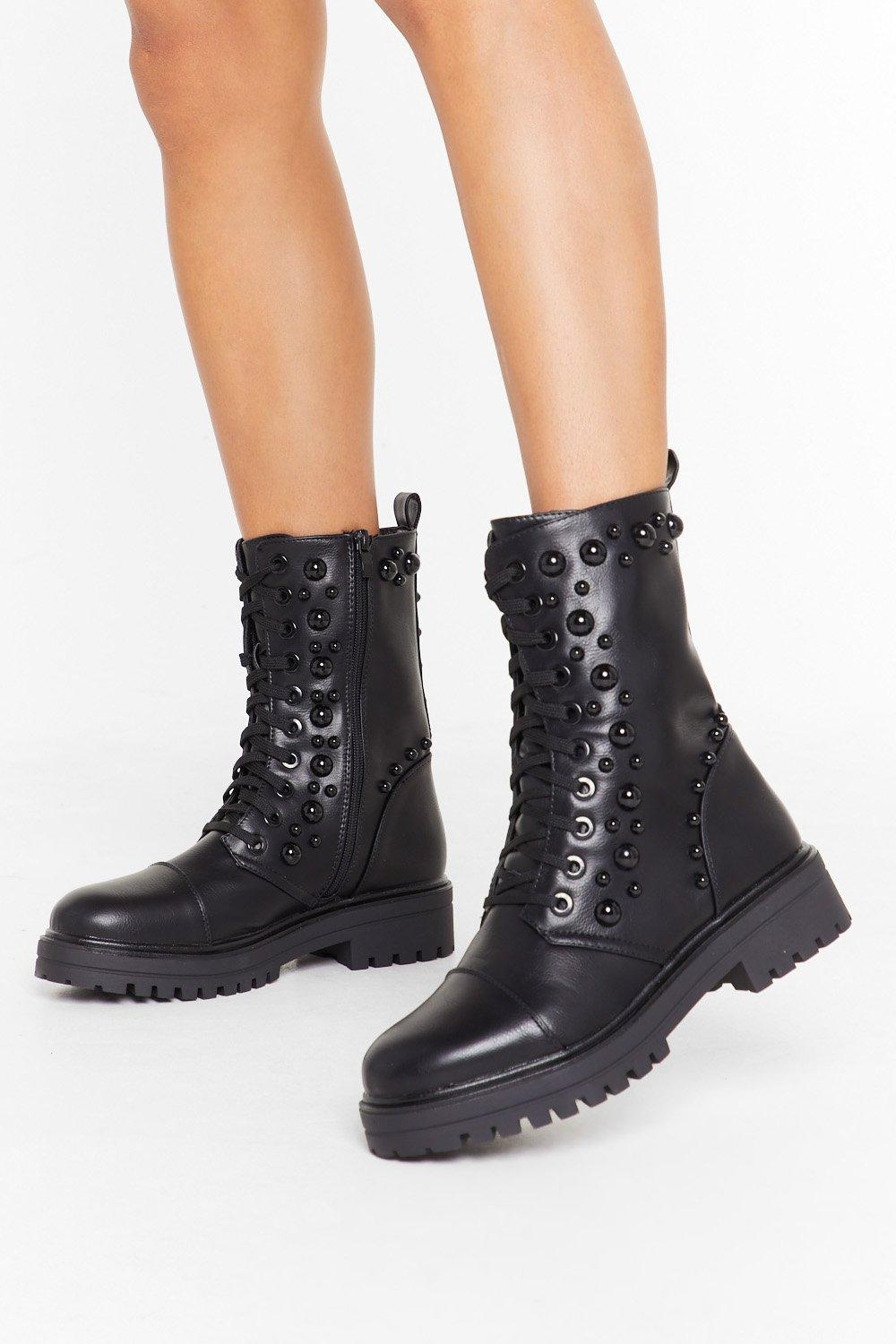 Image of Stud Up Lace-Up Biker Boots