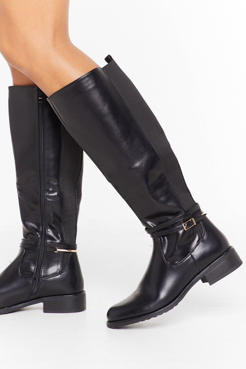 Image of Just Ride It Out Faux Leather Knee-High Boots
