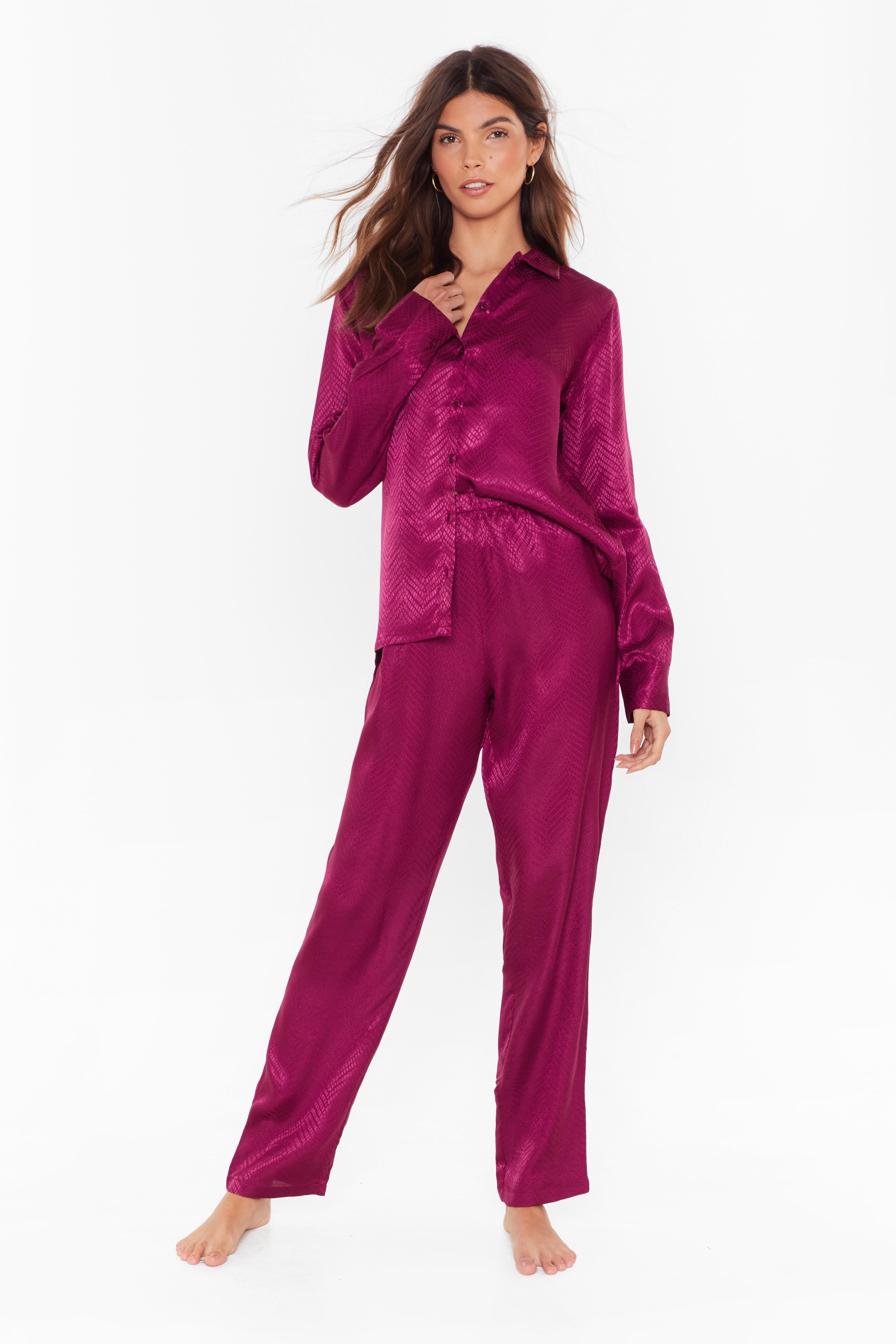 Image of Not Sleeking Alone Satin Pajama Pants Set