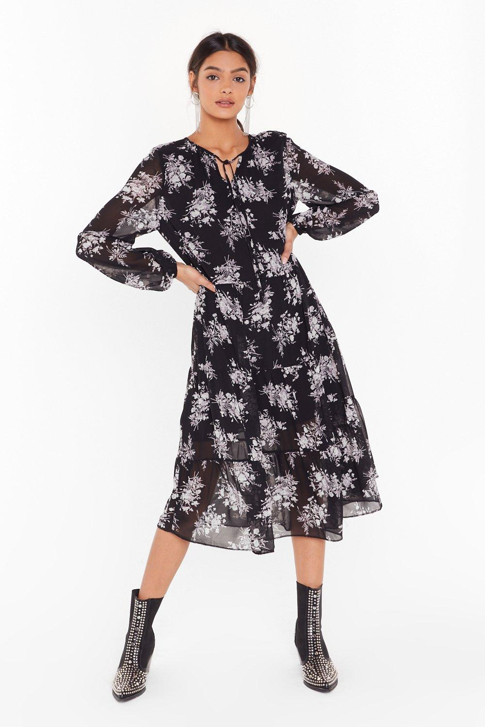 Image of Let the Grow Begin Floral Midi Dress