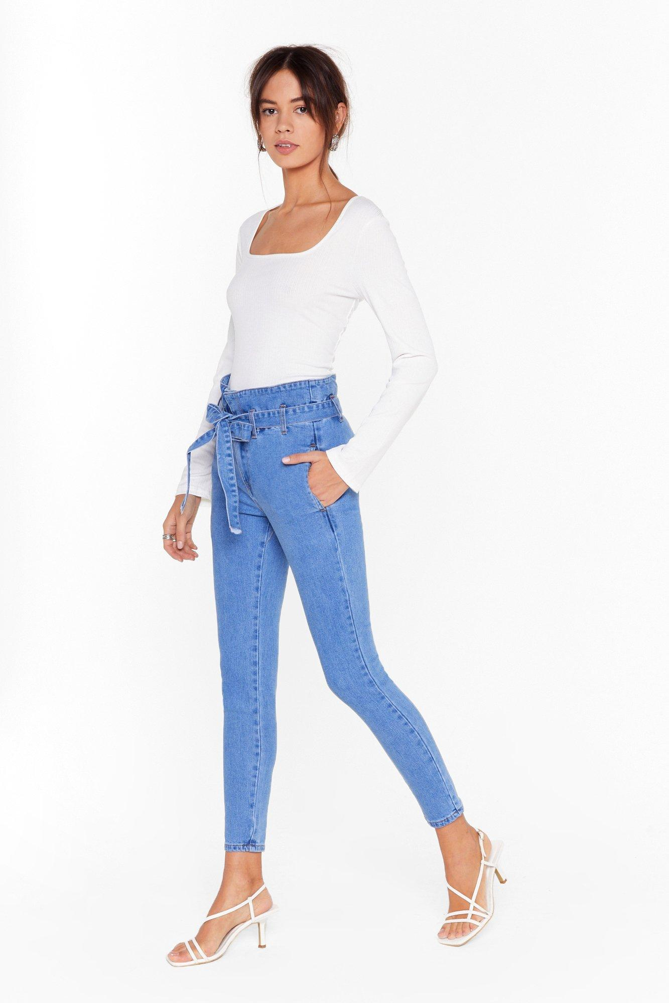 Image of Wash Over Me Paperbag Sraight-Leg Jeans