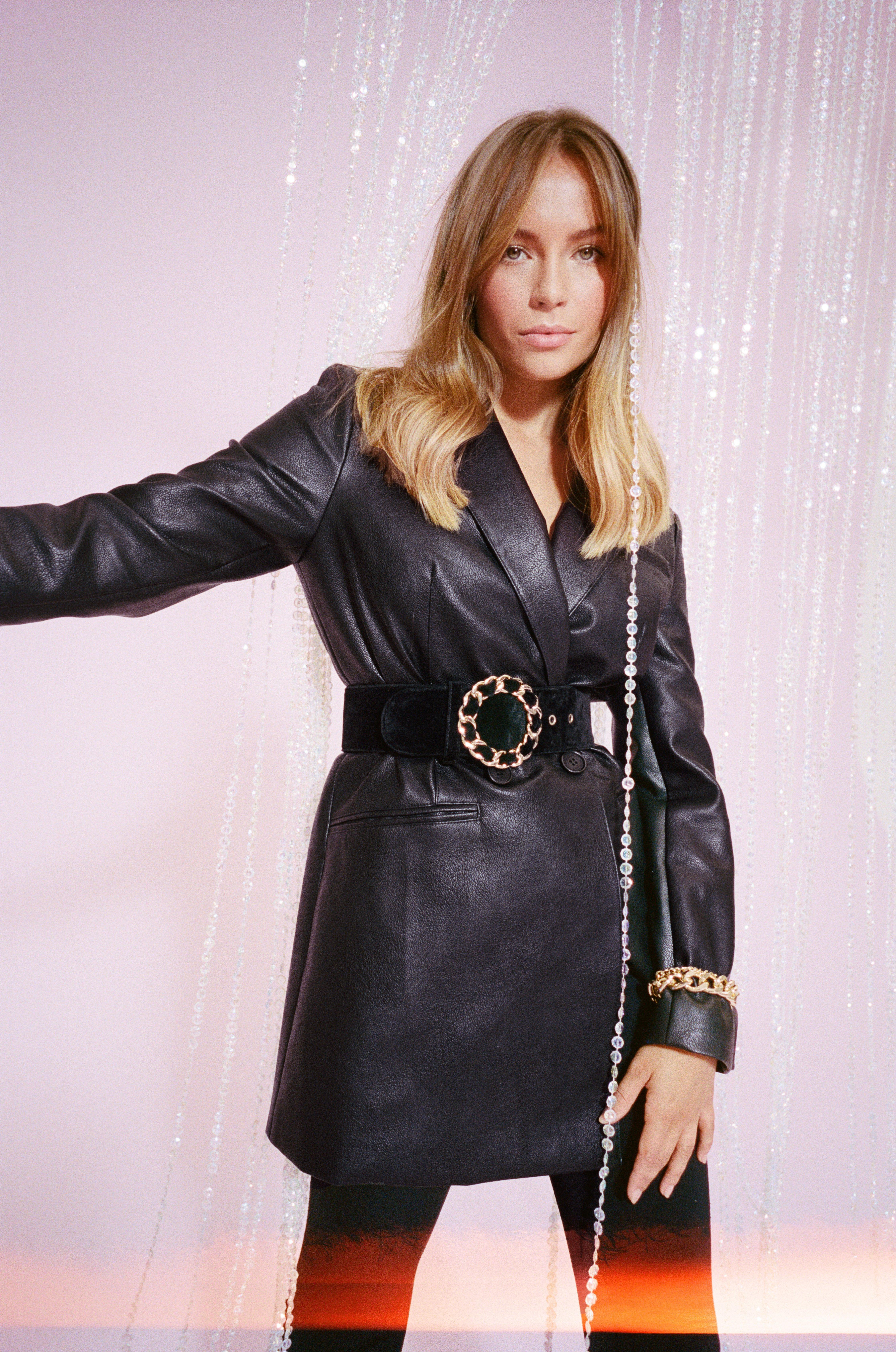 Image of Oversize on the Prize Faux Leather Blazer