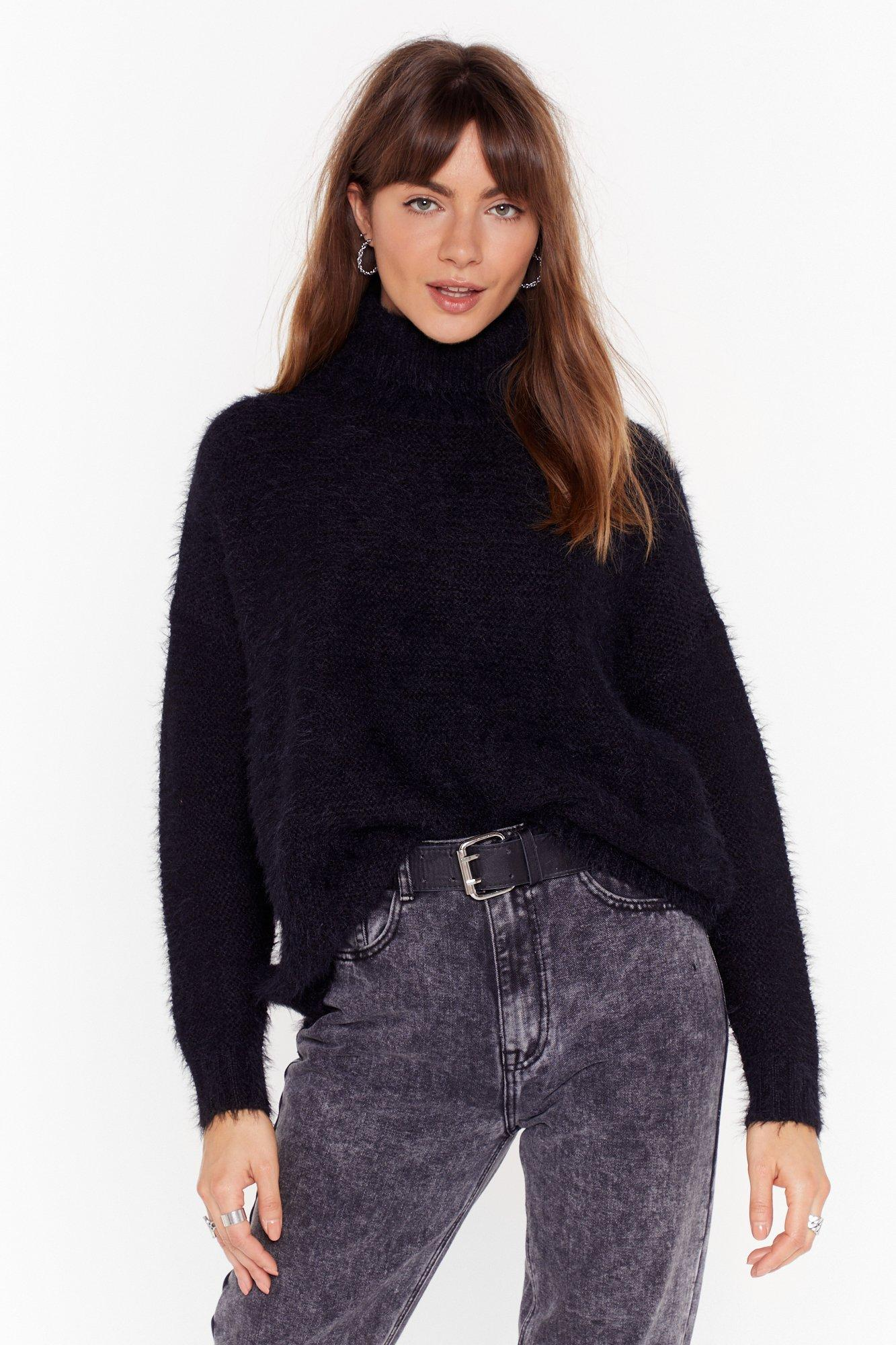 Image of Ain't My Fault Fluffy Knit Turtleneck Sweater