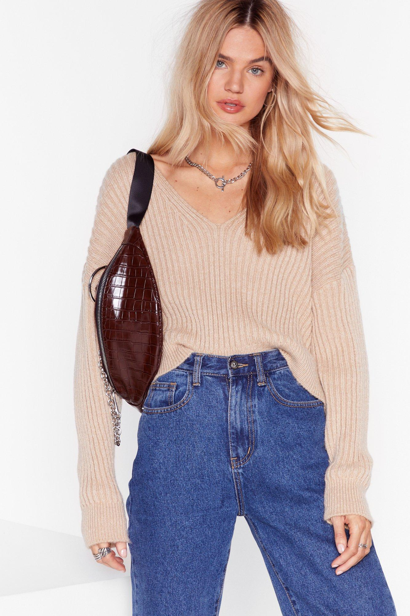 Image of Knit Feels So Good Ribbed V-Neck Sweater