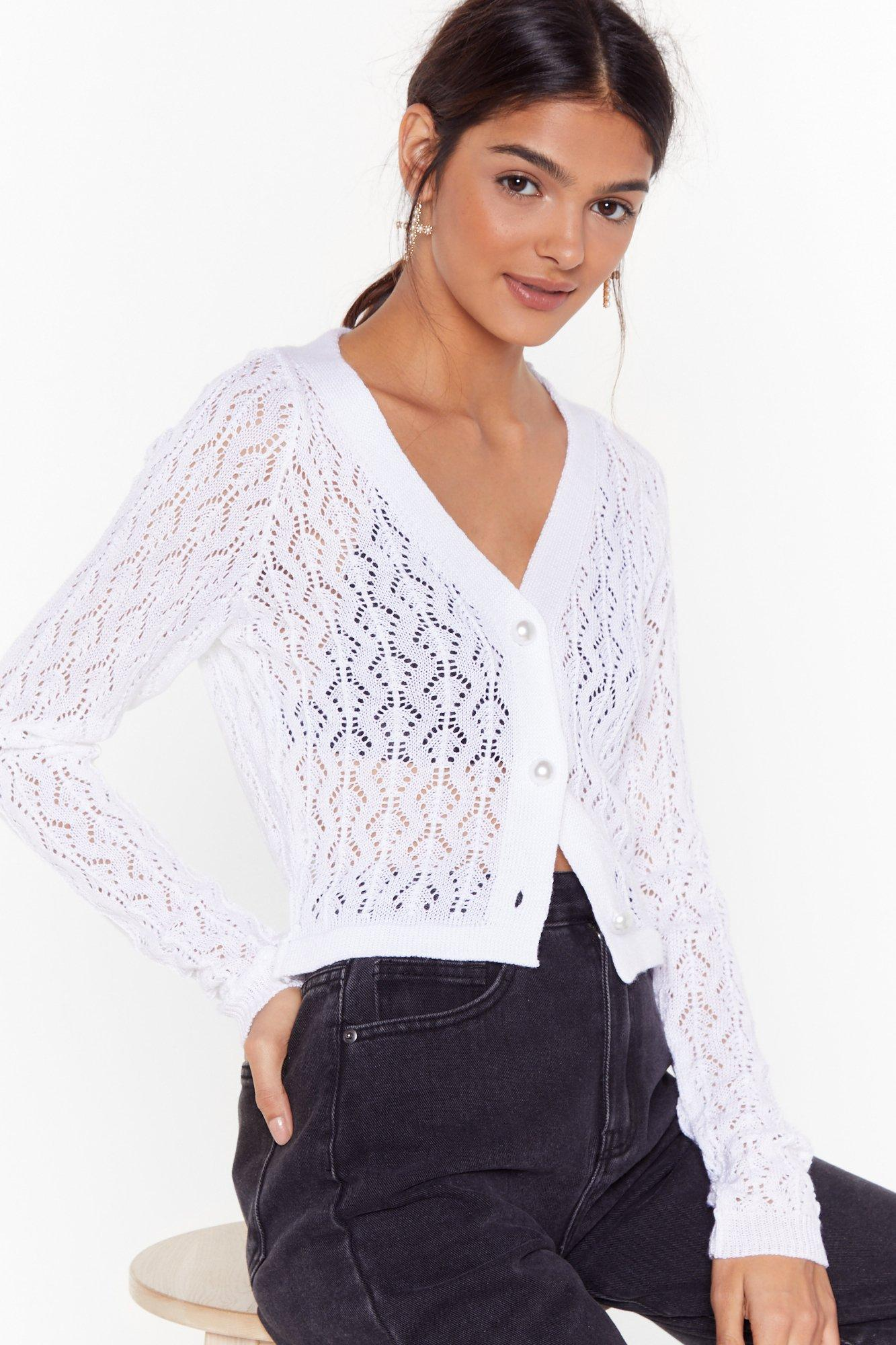 Image of Beautiful Pearls Pointelle Knit Cardigan