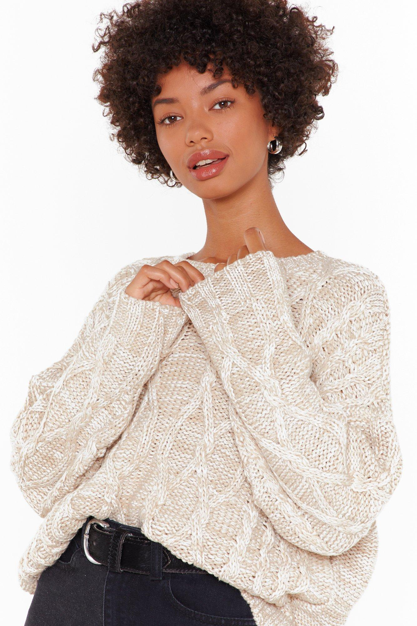 Image of Knit Feels So Good Boat Neck Cable Sweater