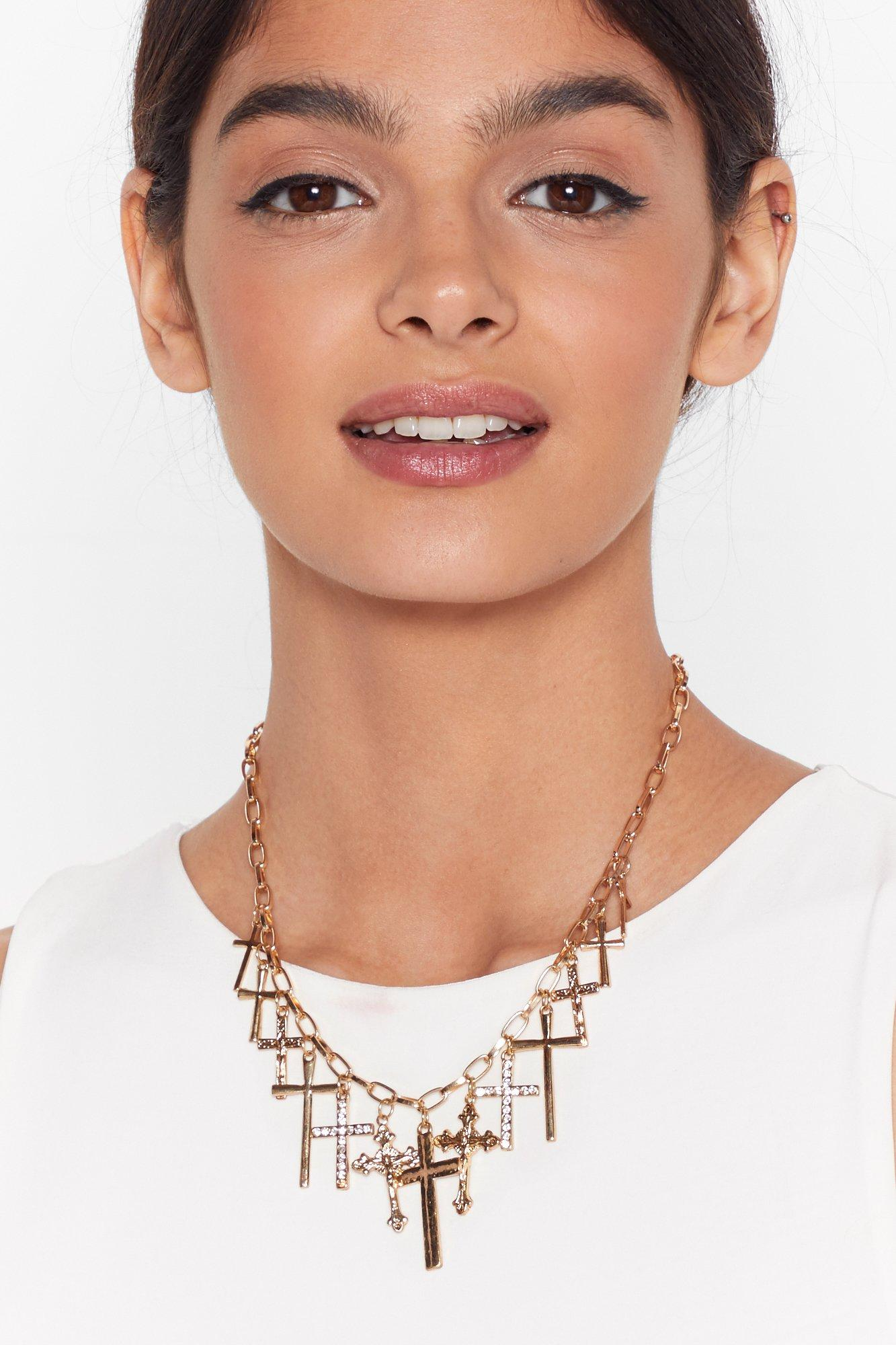 Image of Cross It Off Pendant Chain Necklace
