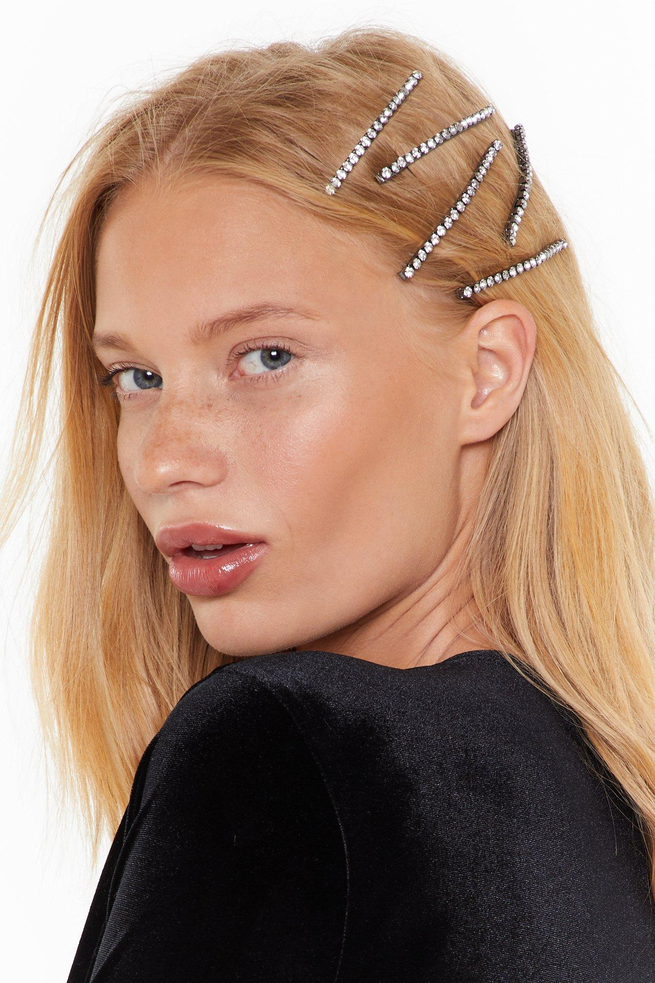 Image of 8cm large diamante hair clips