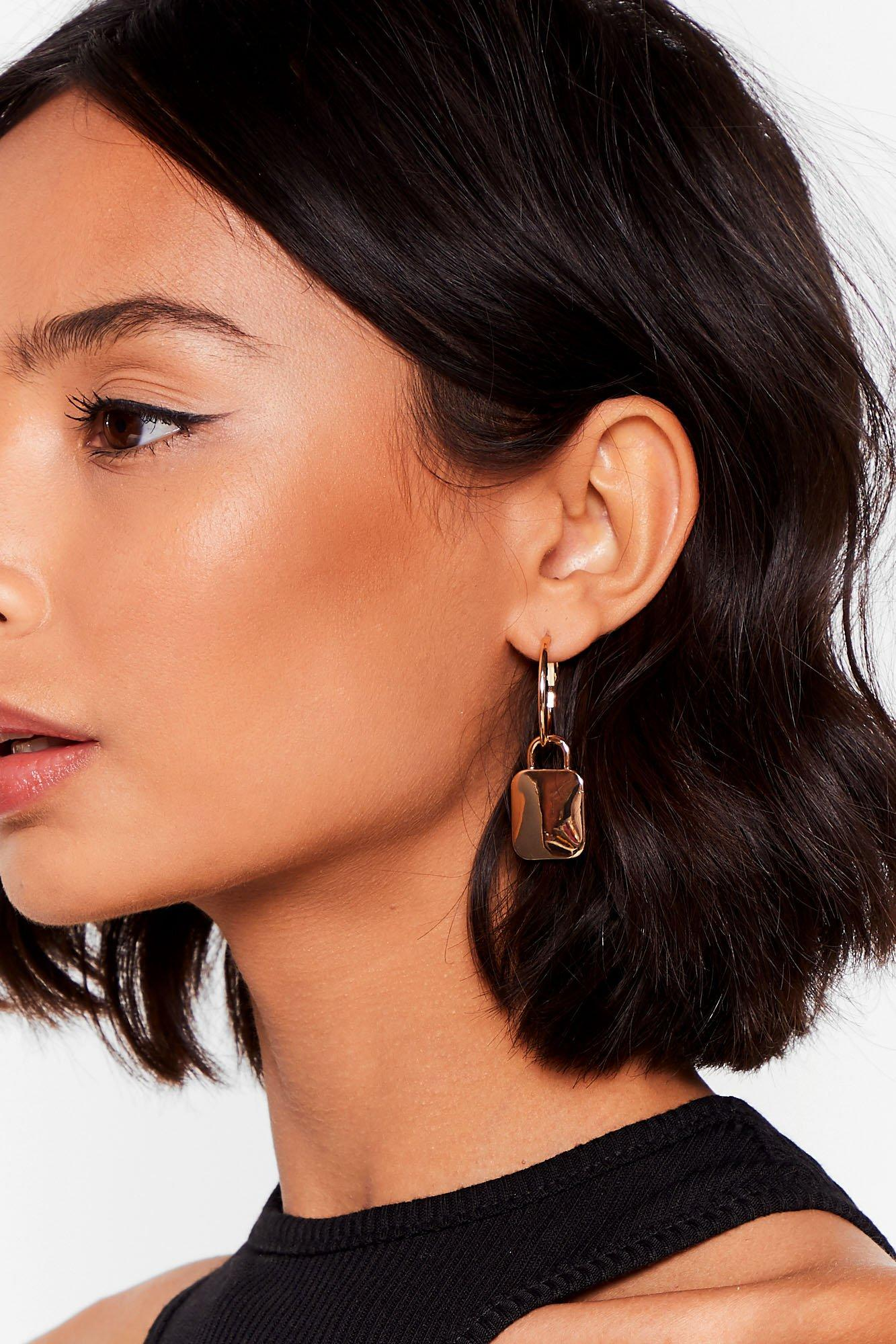 Image of The Key to Life Hoop Pendant Earrings