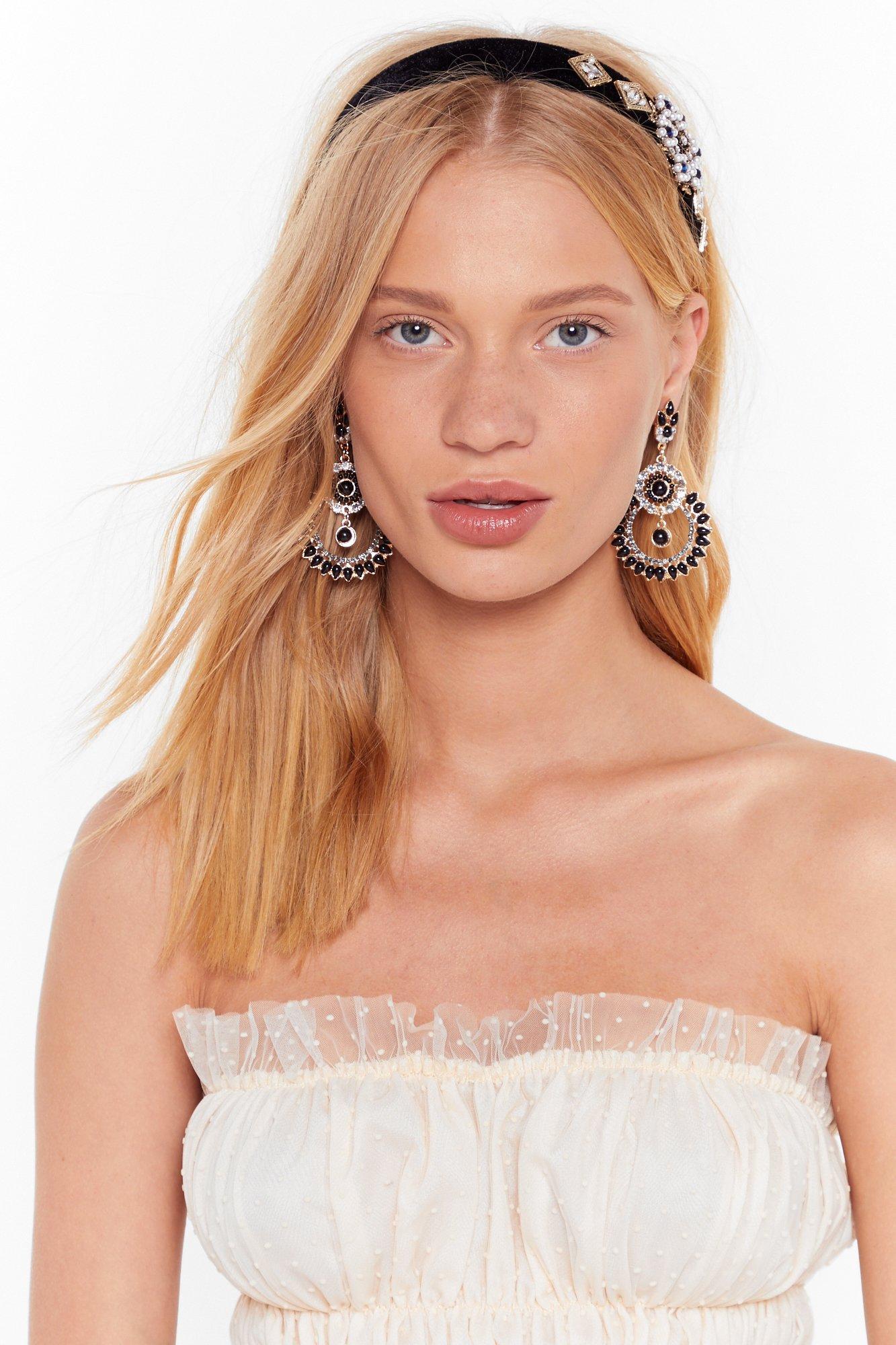 Image of Black gem embelished headband & earring set