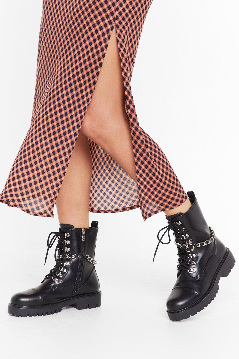 Image of Ready For a Chain-ge Faux Leather Lace-Up Boots
