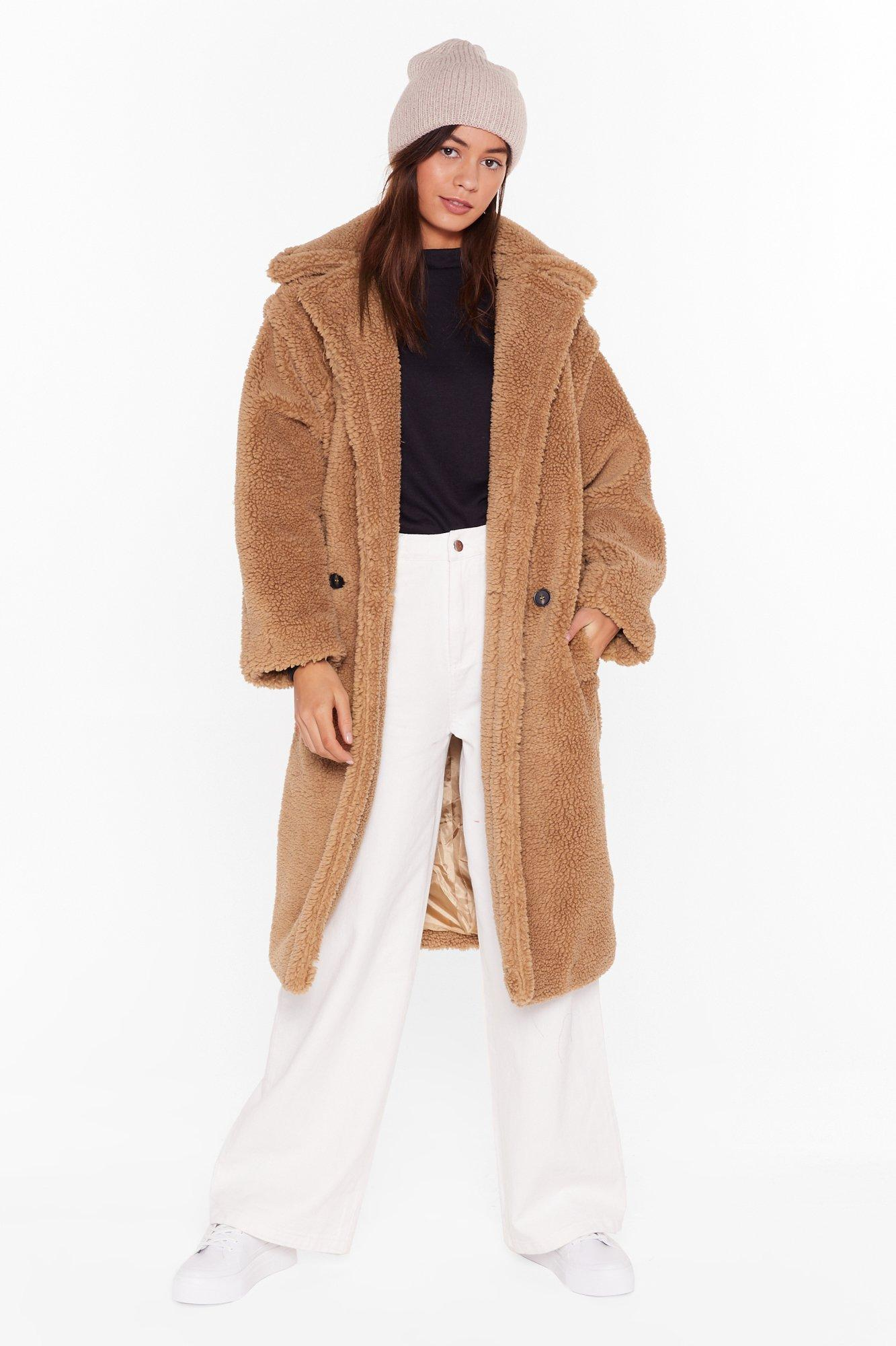 Image of Teddy or Not Faux Shearling Longline Coat