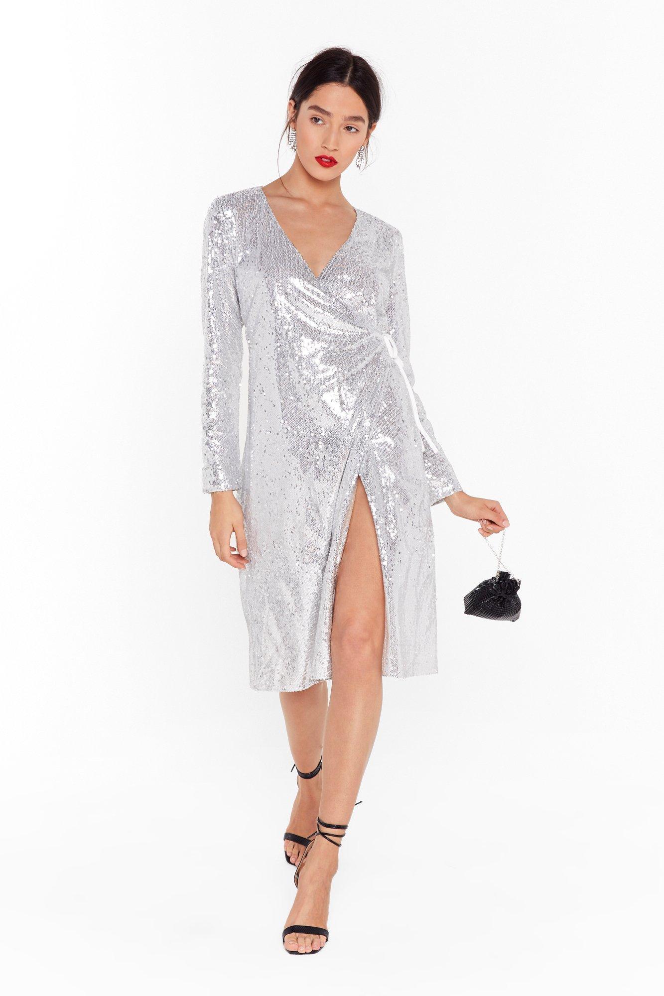 Image of Sequin Them Over Wrap Midi Dress