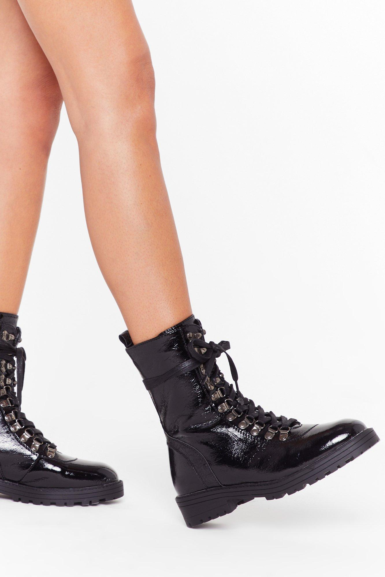 Image of D-Ring Your Patent Faux Leather Boots