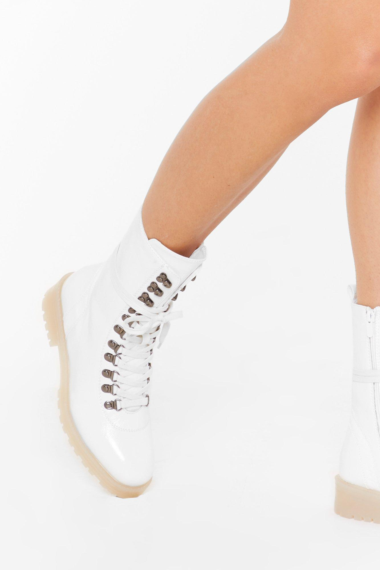 Image of On Your Feet Faux Leather Lace-Up Boots