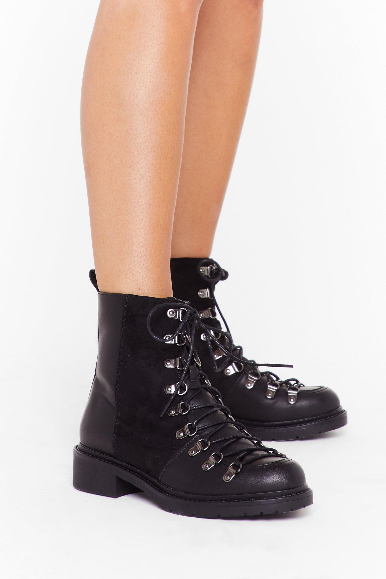 Image of You Can't Mix This Faux Leather Lace-Up Boots