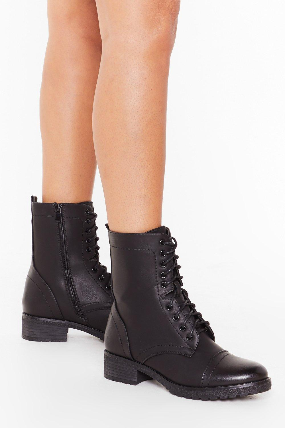 Image of Let's Stay Together Faux Leather Lace-Up Boots