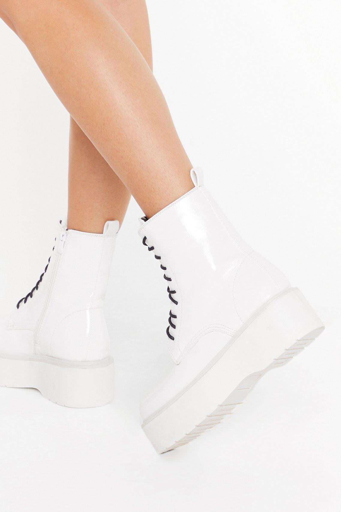 Image of Up On the Platform Faux Leather Lace-Up Boots