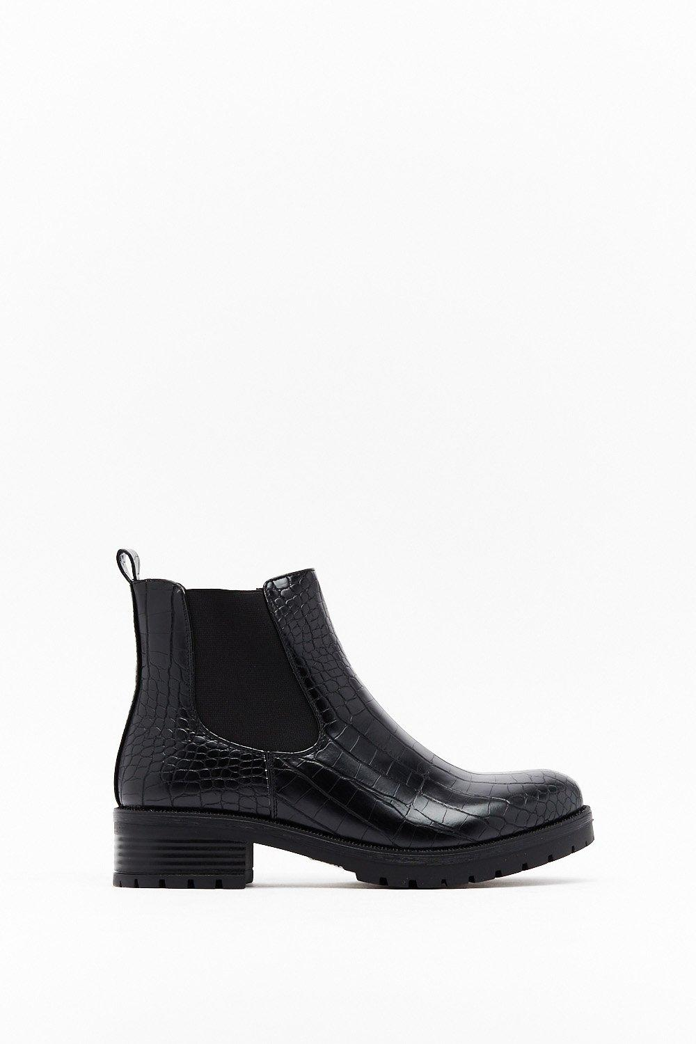 Image of Don't Croc the Boat Faux Leather Chelsea Boots