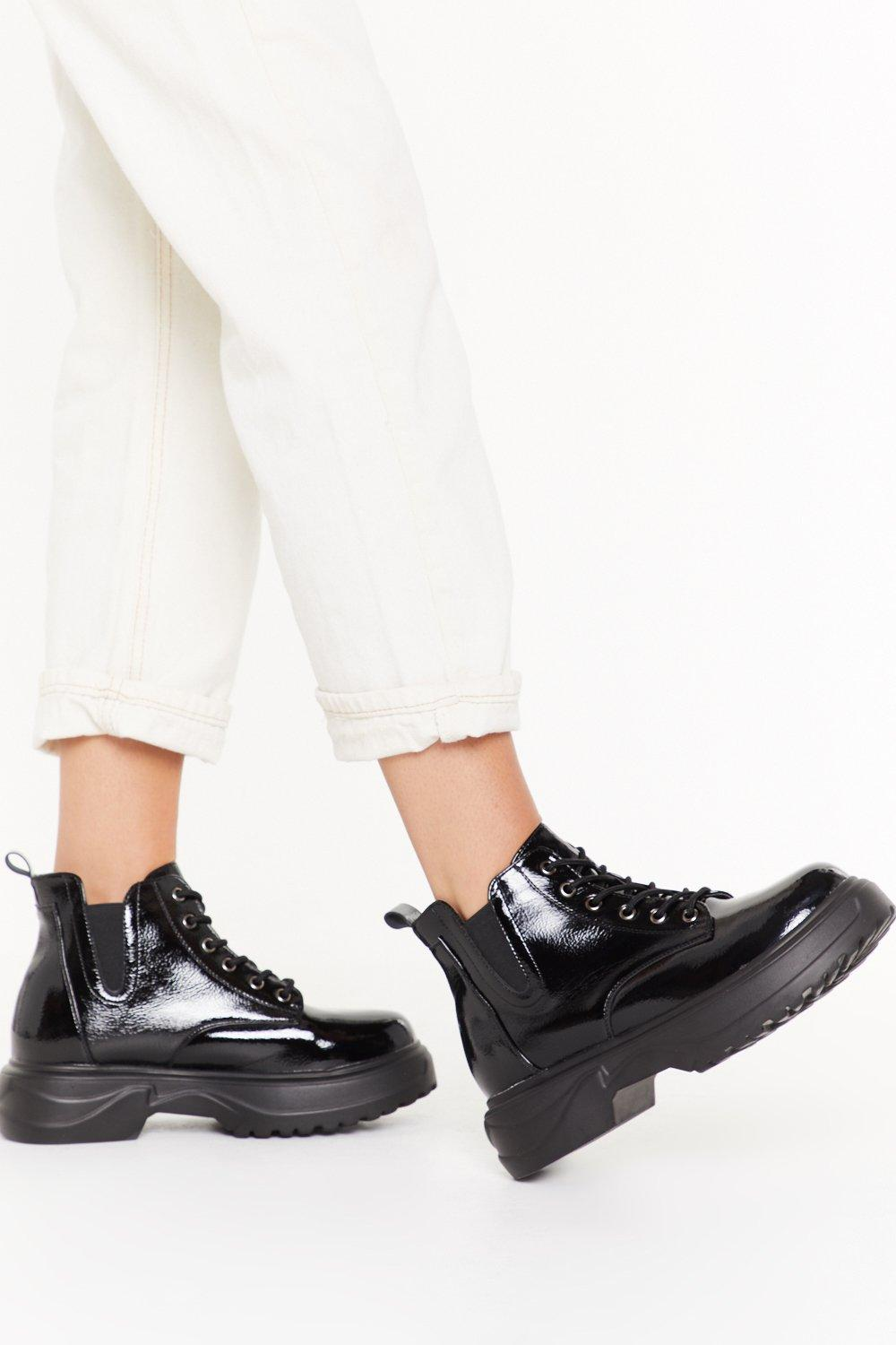 Image of Faux Patent Leather Chunky Boot