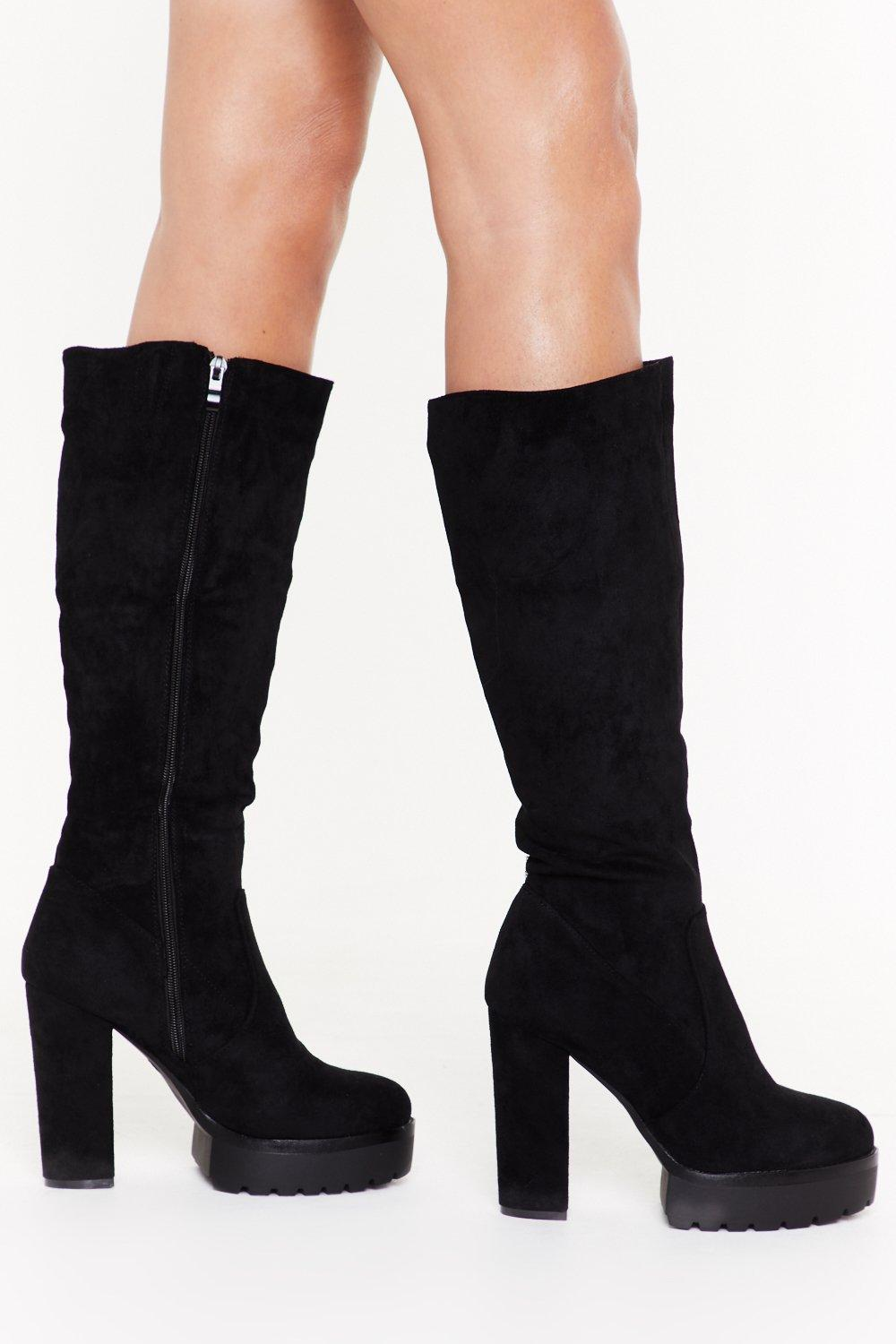 Image of Faux Suede Platform Cleated Knee Boots