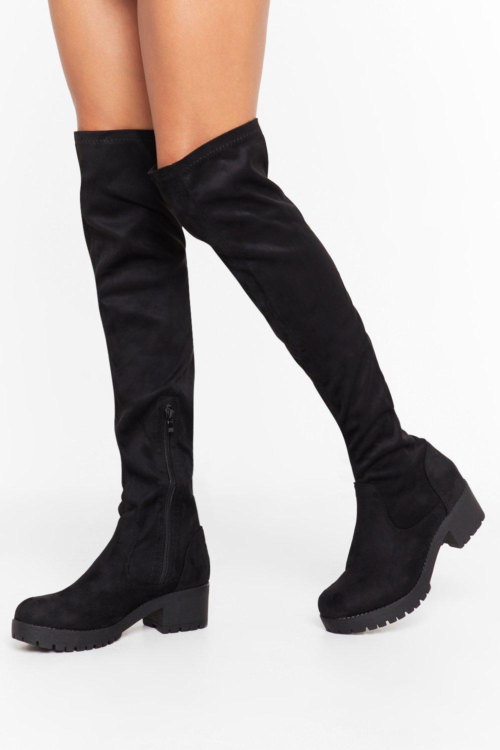 Image of Tell Me When It's Over-the-Knee Faux Suede Boots