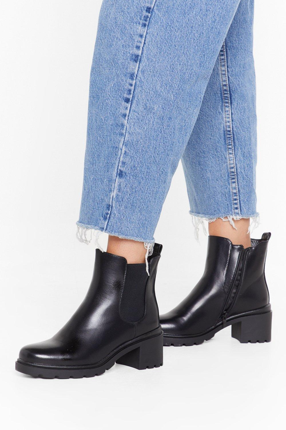 Image of Around the Block Faux Leather Chelsea Boots