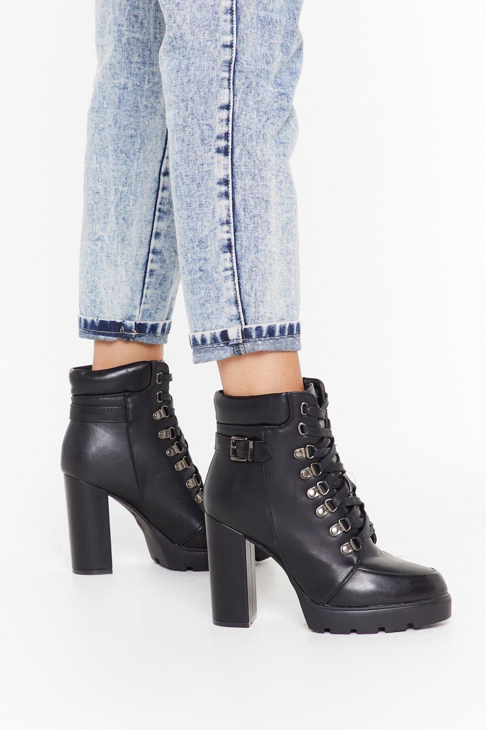 Image of Heeled faux leather d ring hiker boots