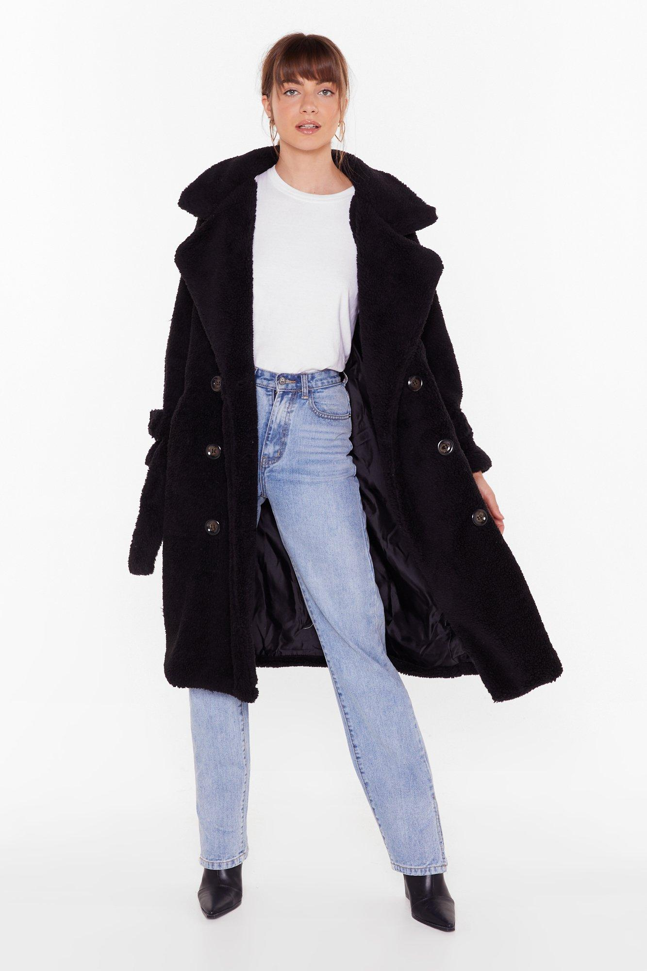 Image of Are You Teddy Fur It Faux Shearling Longline Coat