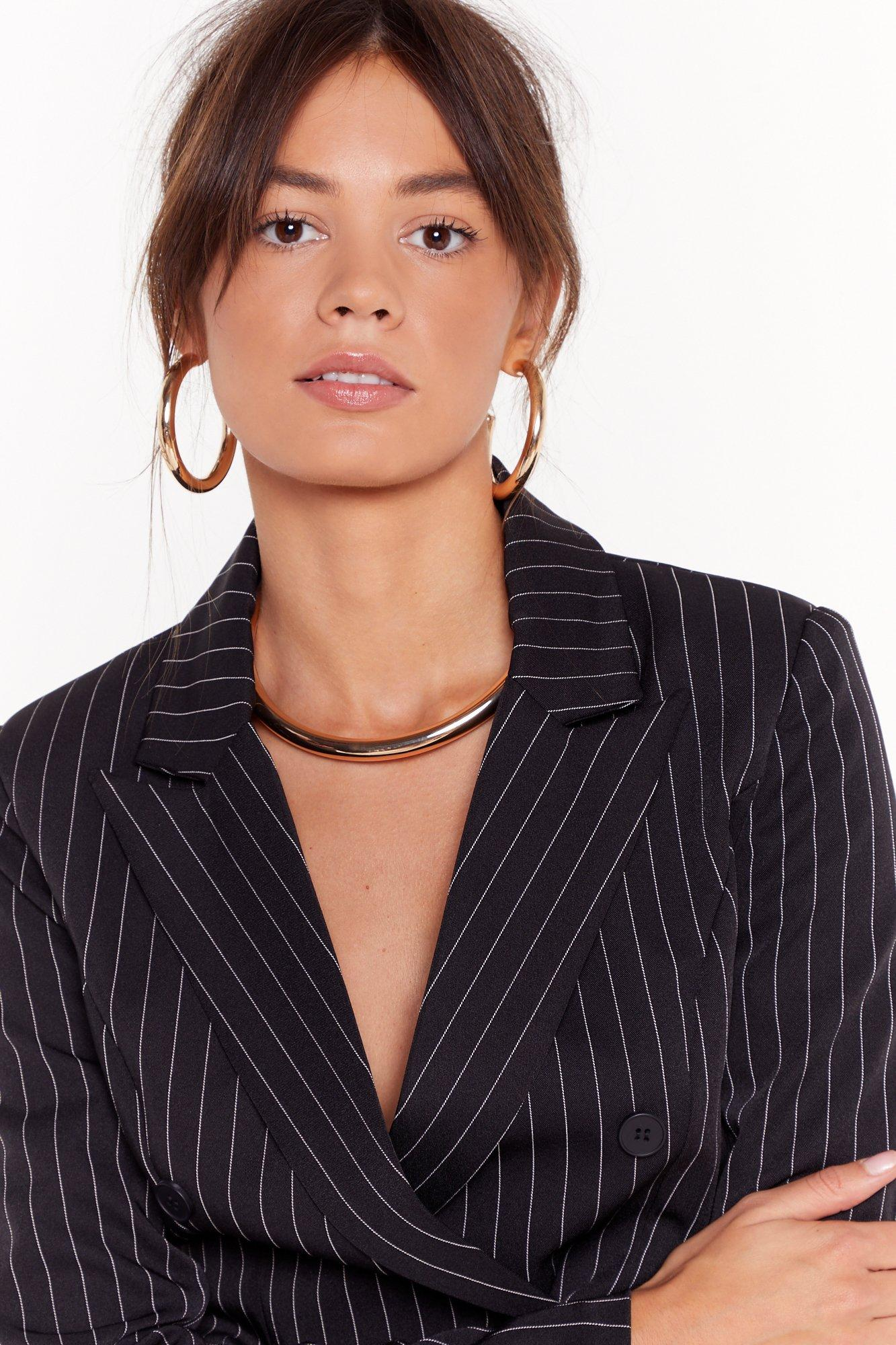 Image of Round We Go Necklace and Hoop Earrings Set