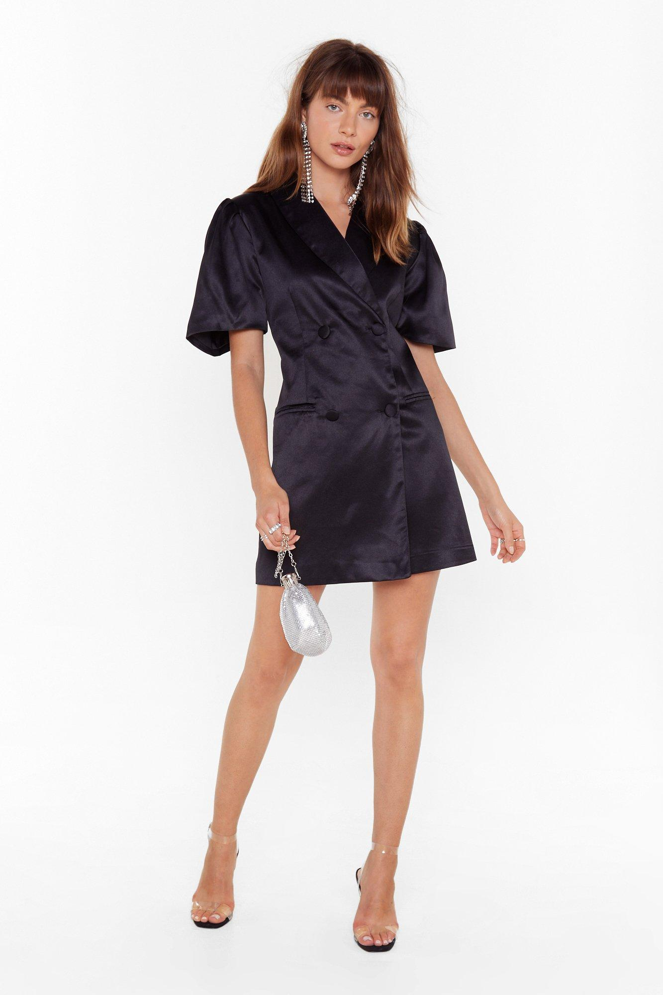Image of We're Busy Satin Blazer Dress