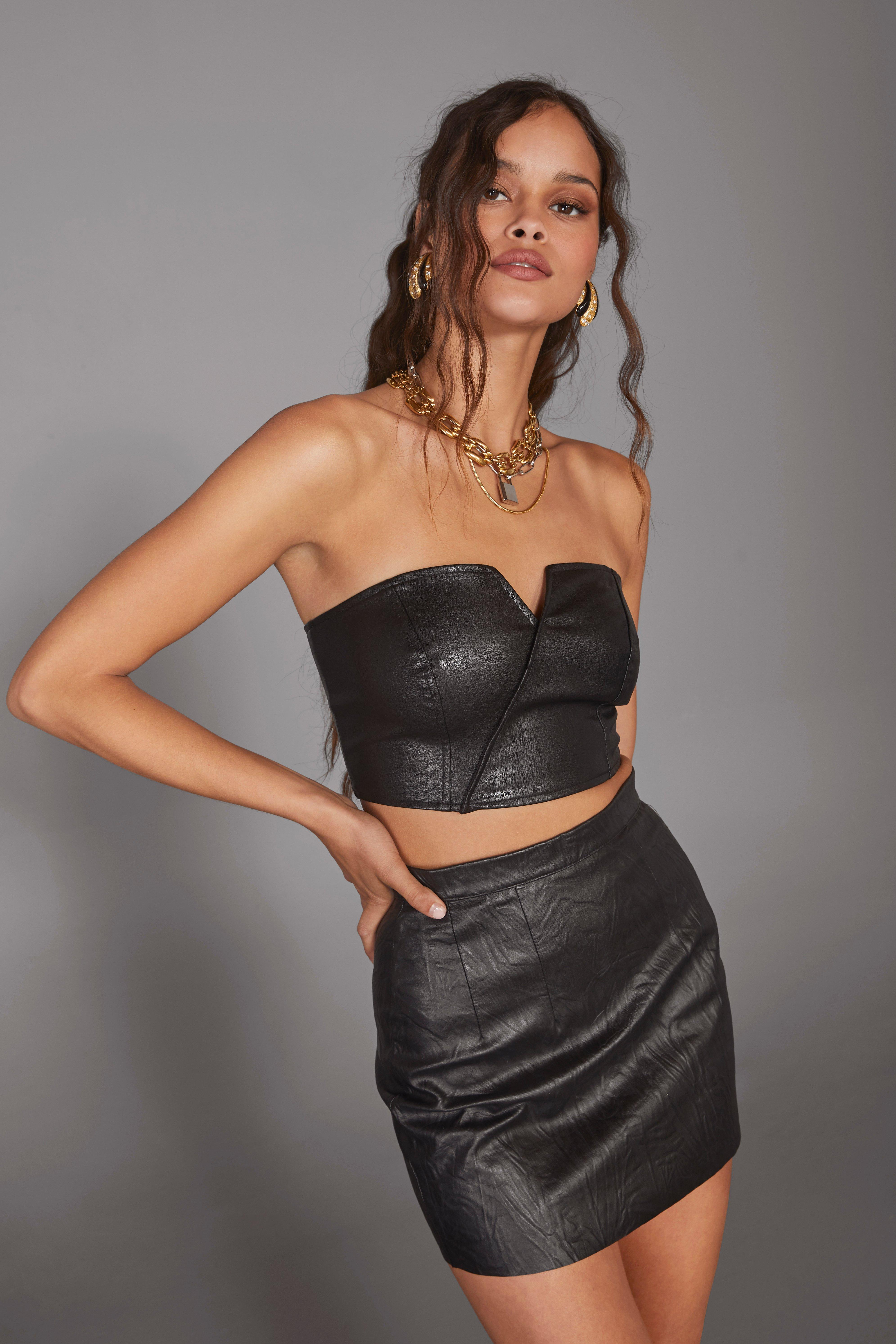 Image of Spotlight Faux Leather Corset Top