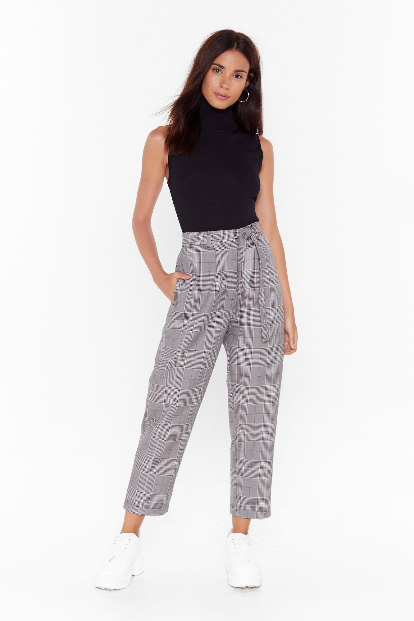 Image of Checkin' Out High-Waisted Tapered Pants